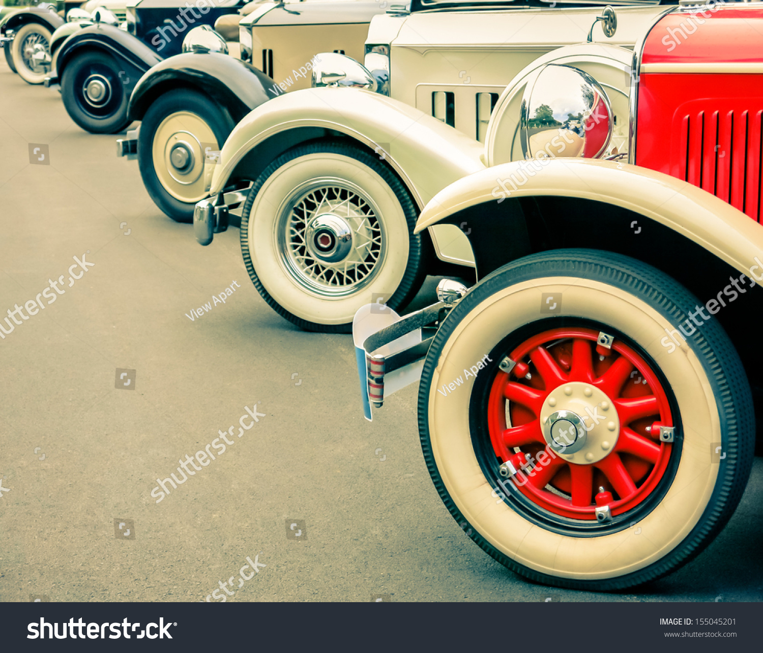 Vintage Car Wheels Classic Vehicles Stock Photo 155045201