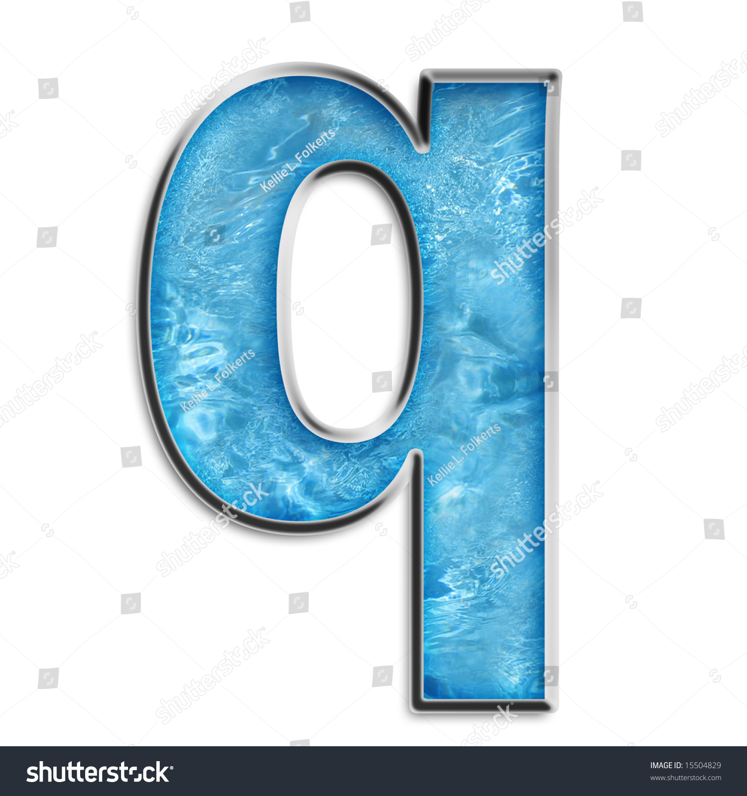 Lowercase q in shimmery blue isolated on white