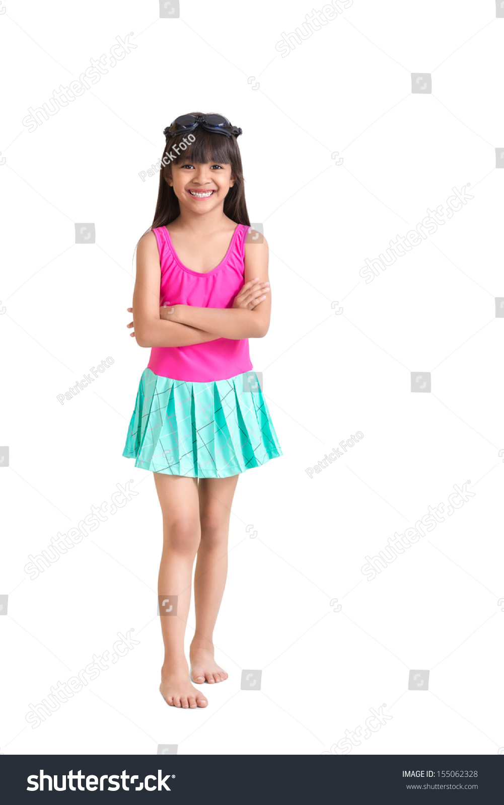 Little Asian Girl Wearing Swimsuit Isolated Stock Photo ...