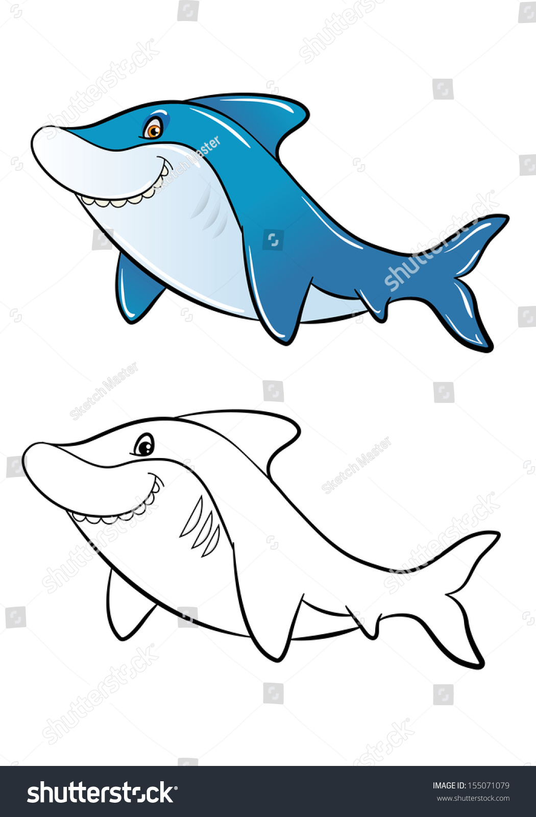 Funny Cartoon Shark Color Outline Coloring Stock Illustration ...