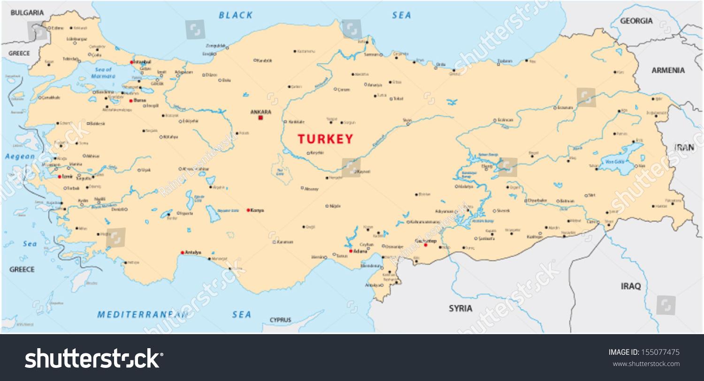 Turkey Map Stock Vector Shutterstock - Turkey map