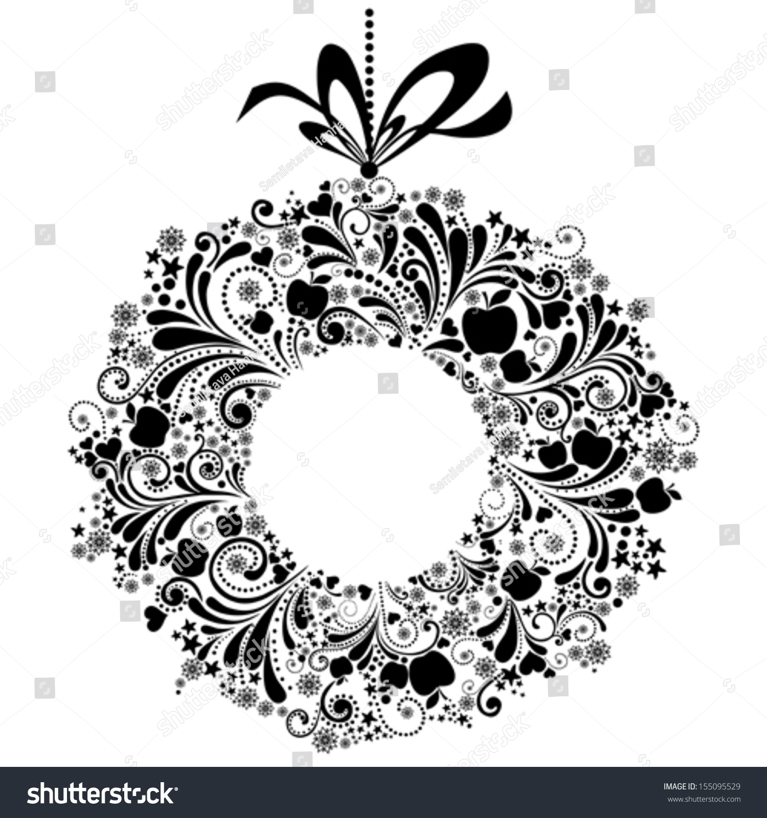 Christmas bow vector black and white