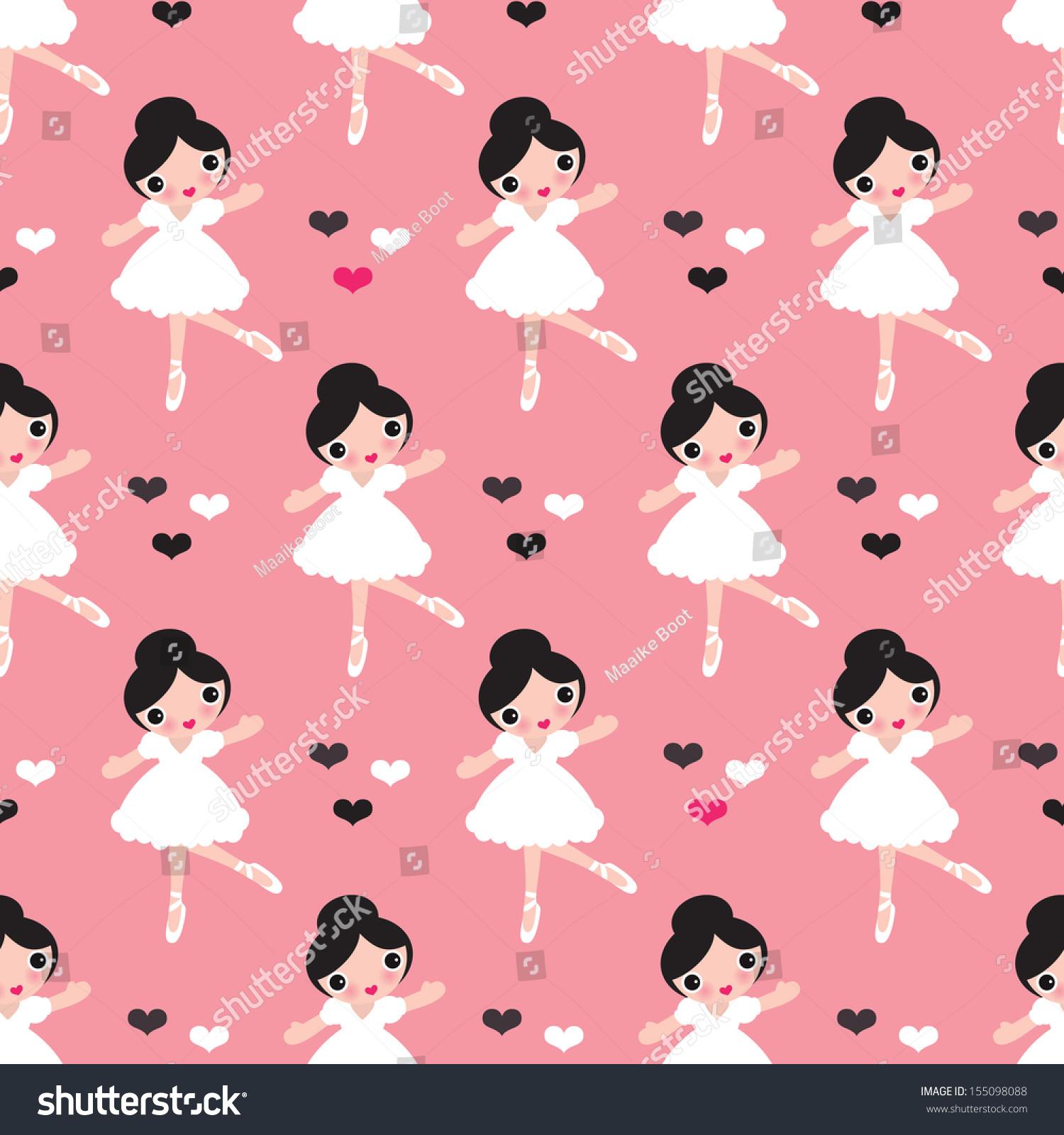 seamless kids ballerina ballet dance illustration stock vector