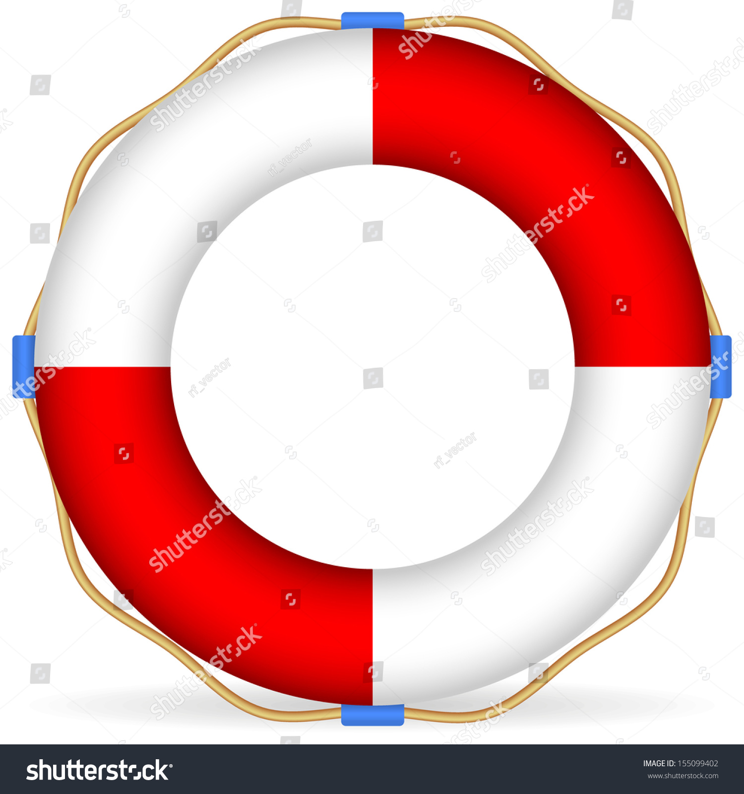 Life Buoy Vector Rope Shadow Stock Vector 155099402