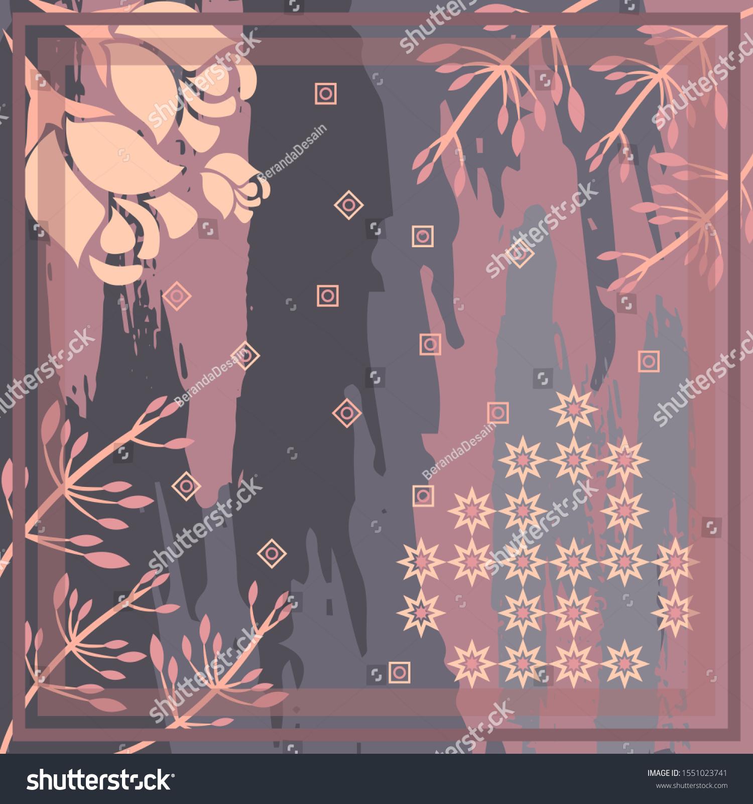 Pattern Hijab Motif Design Abstract Foliage Stock Vector (Royalty