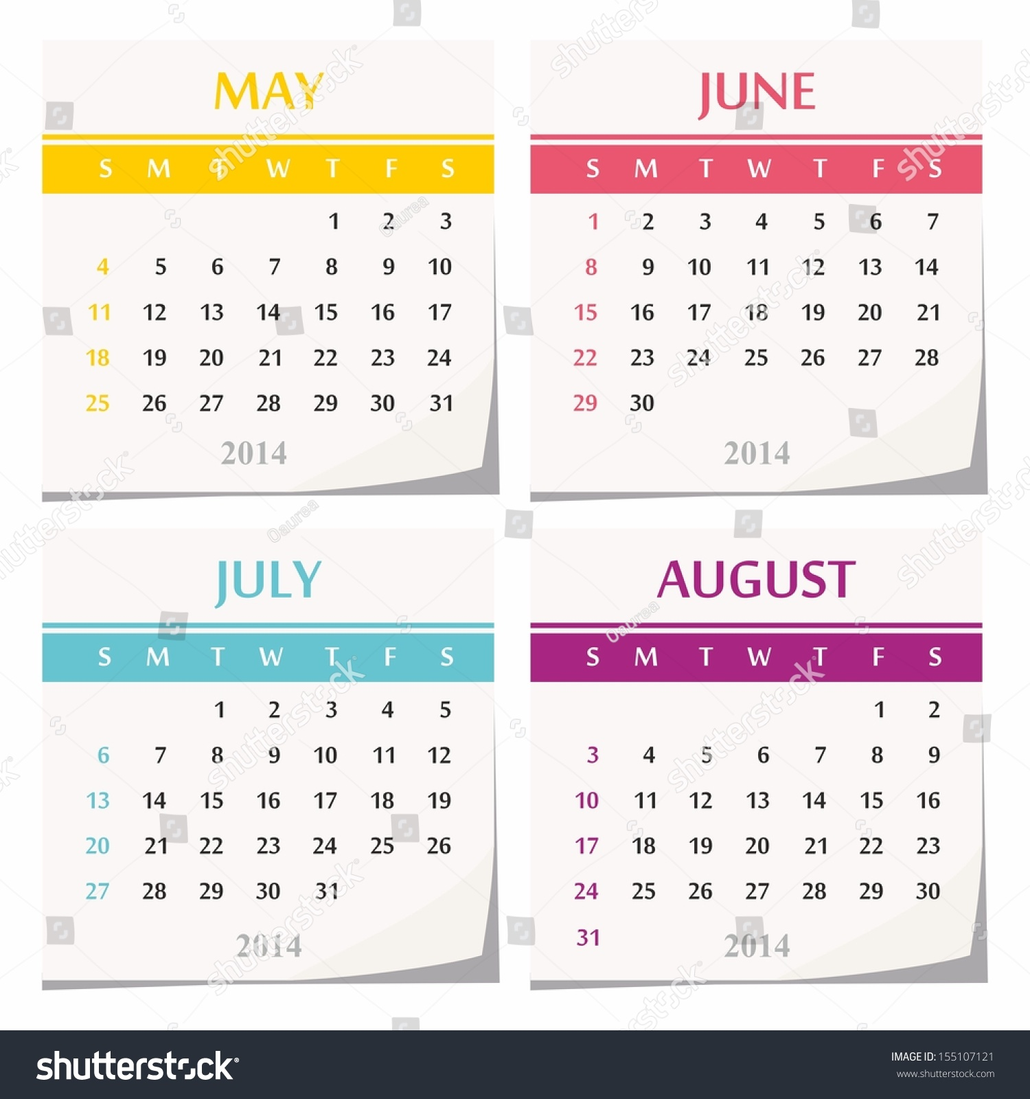Calendar May June July August : Calendar design set of four months may june july