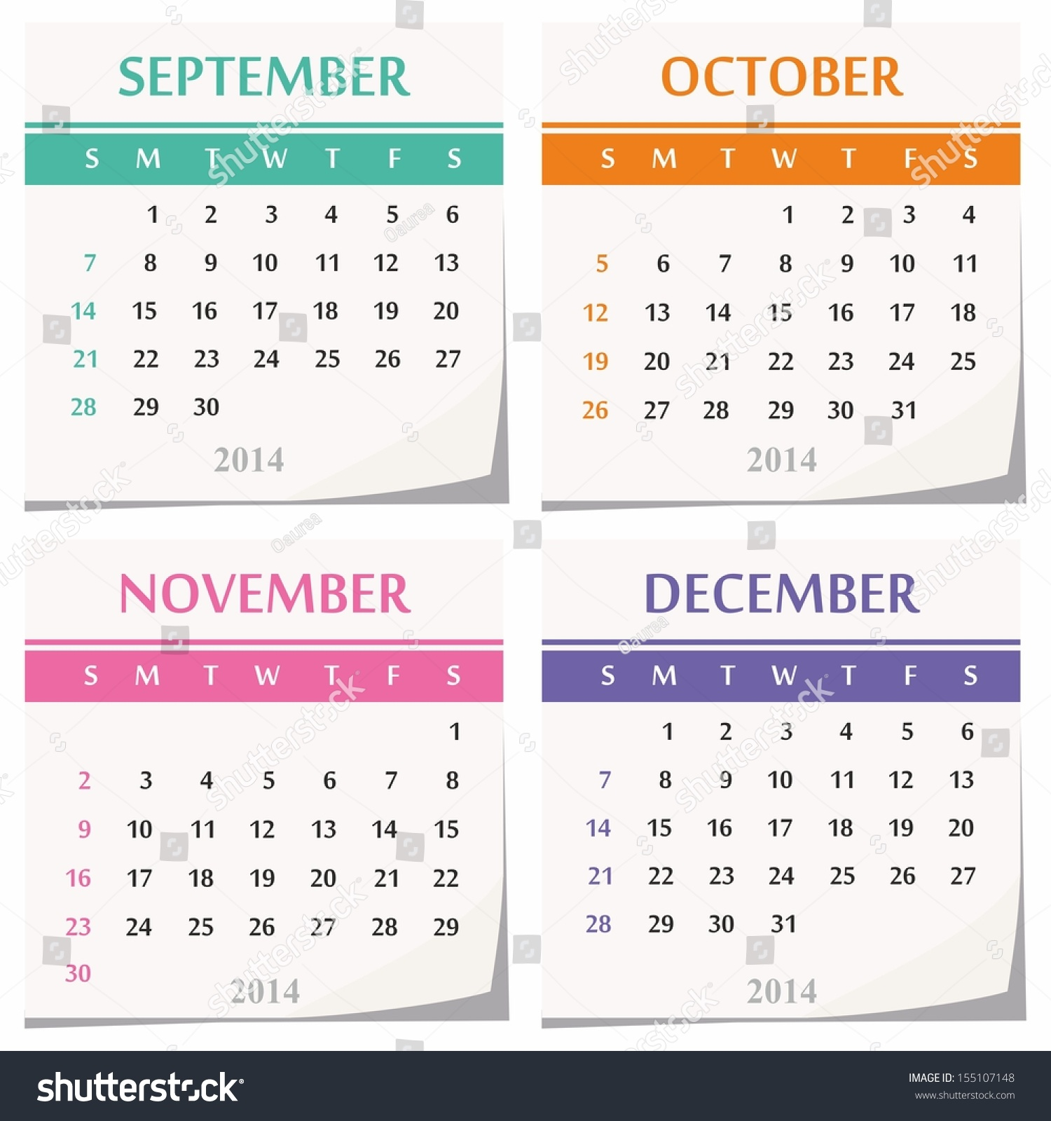 November Calendar Design : Calendar design set four months stock vector