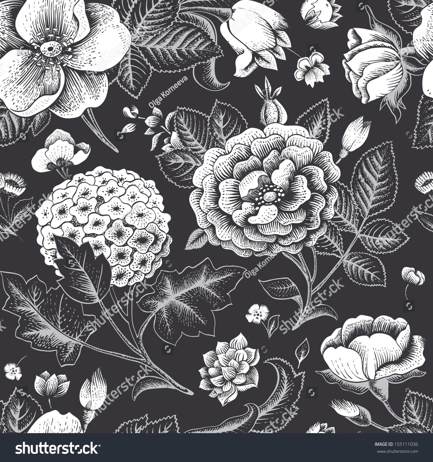 Black Flower Pattern Stock Images: Beautiful Vintage Floral Seamless Pattern Garden Stock