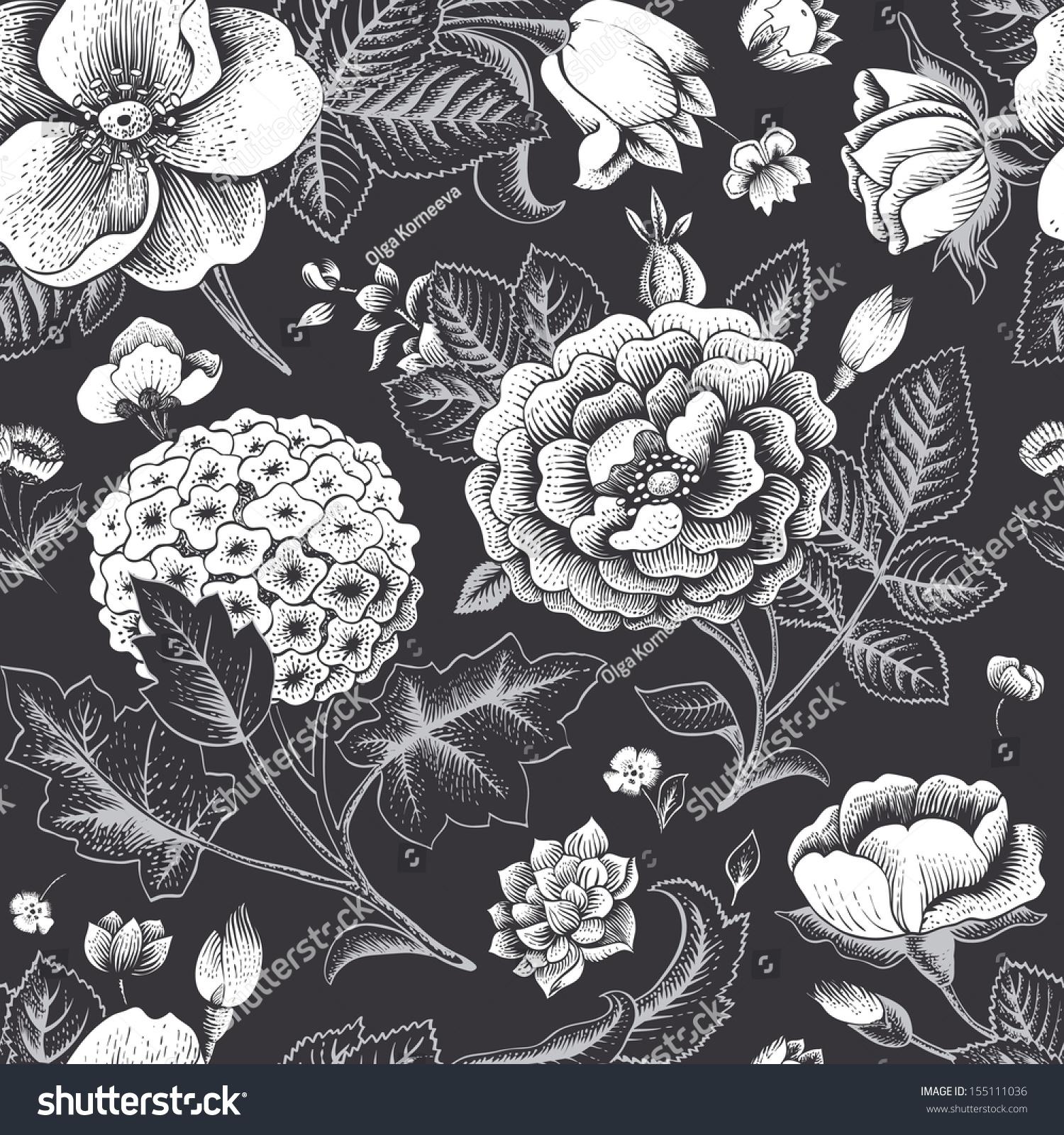 vintage patterns black and white japanese - Google Search ...   Black Floral Vintage Pattern