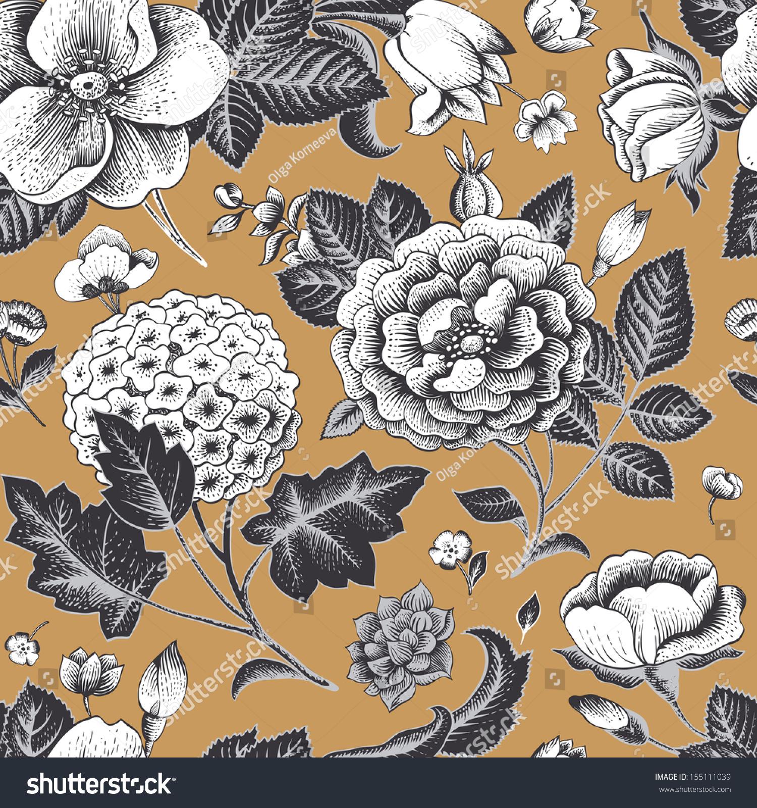 Beautiful Vintage Floral Seamless Pattern. Garden Roses