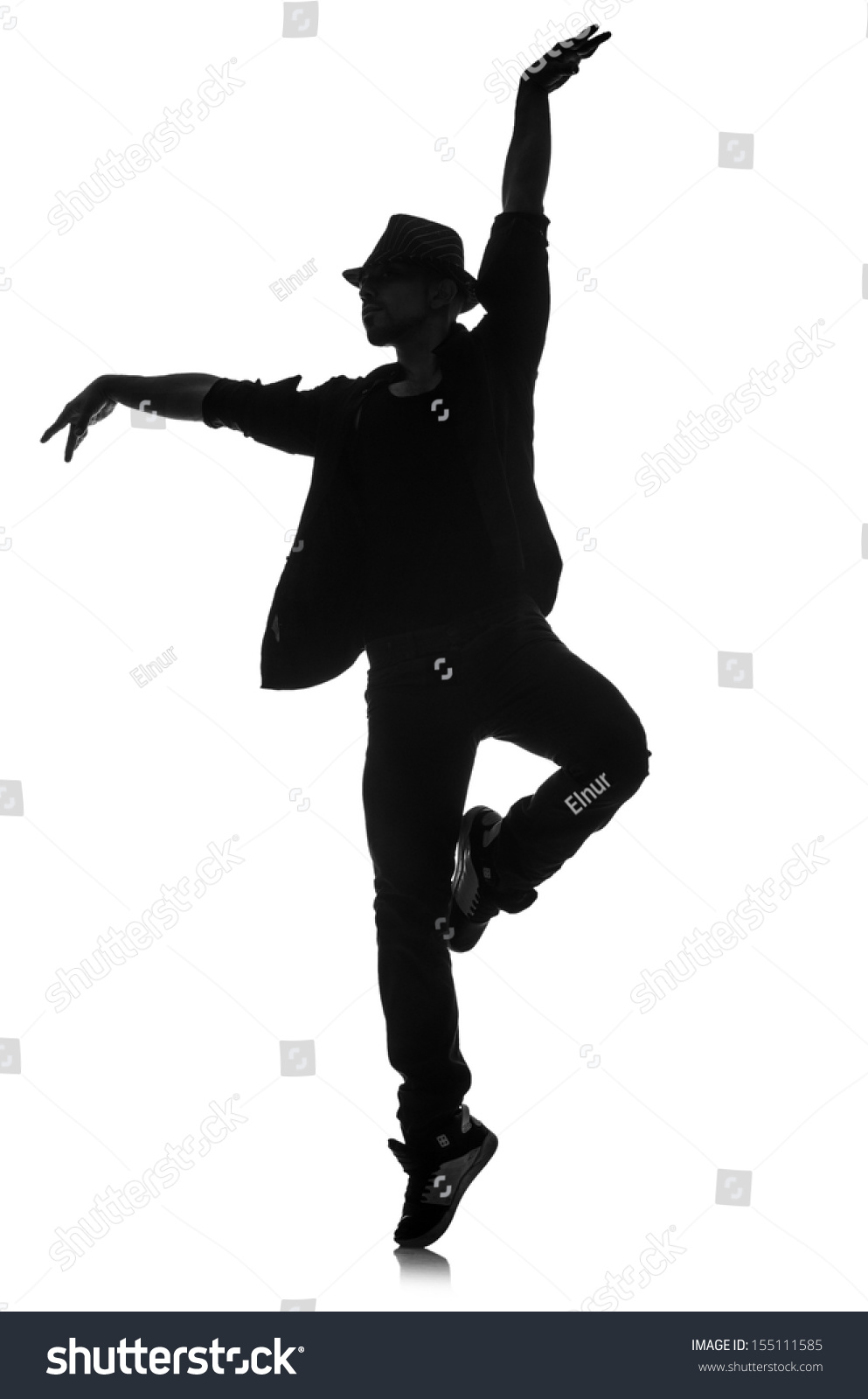 Silhouette Of Male Dancer Isolated On White Stock Photo ...