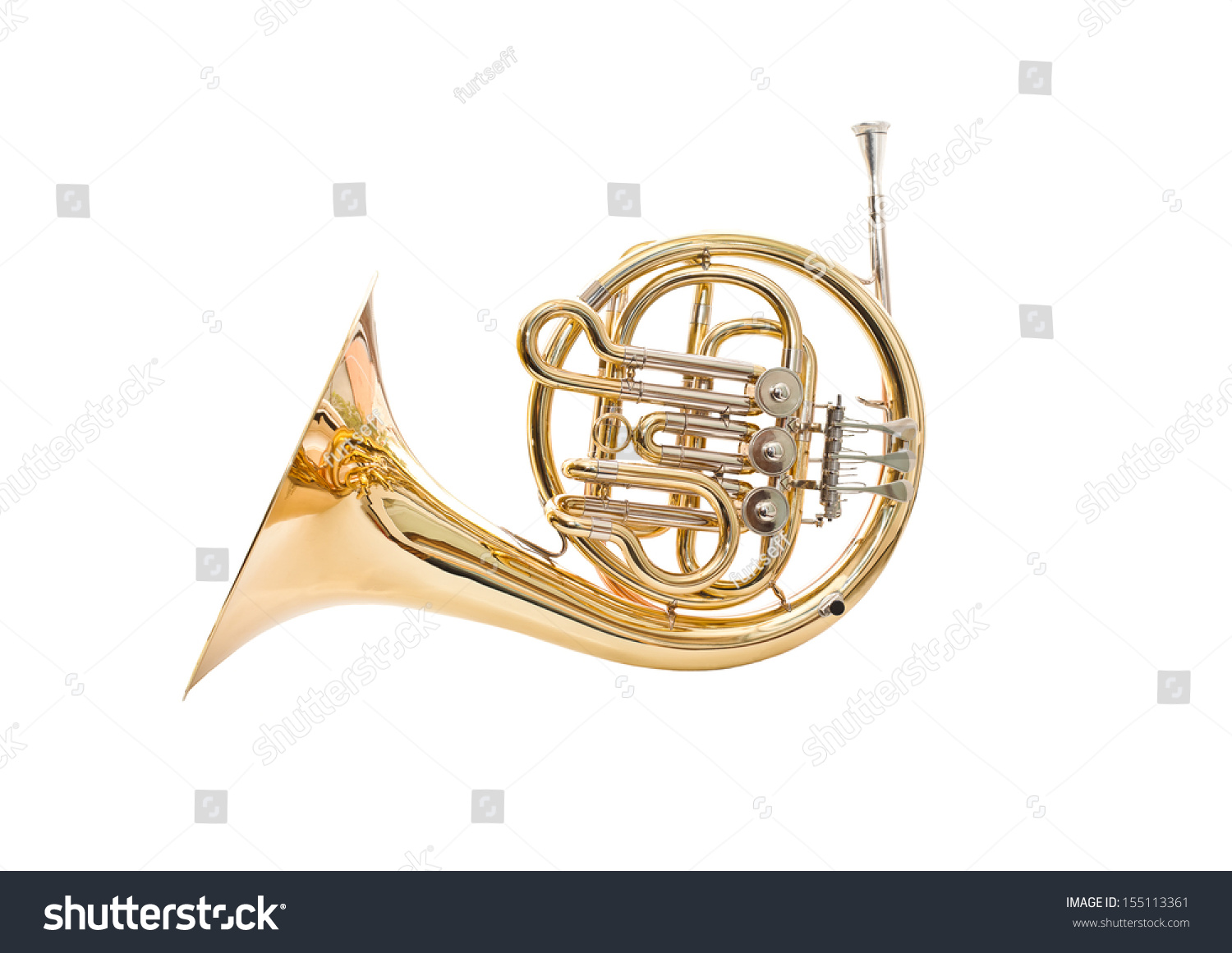 French Horn On A White Background Stock Photo 155113361 ...