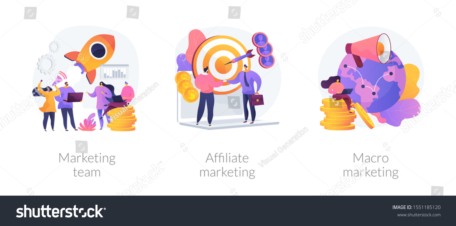 Professional marketers service, advertising business, worldwide networking icons set. Marketing team, affiliate marketing, macro marketing metaphors. Vector isolated concept metaphor illustrations #1551185120