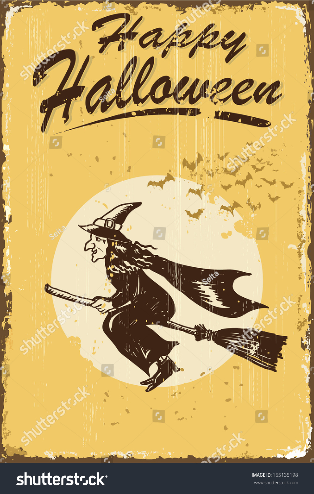Vintage Happy Halloween Sign Stock Vector Illustration ...