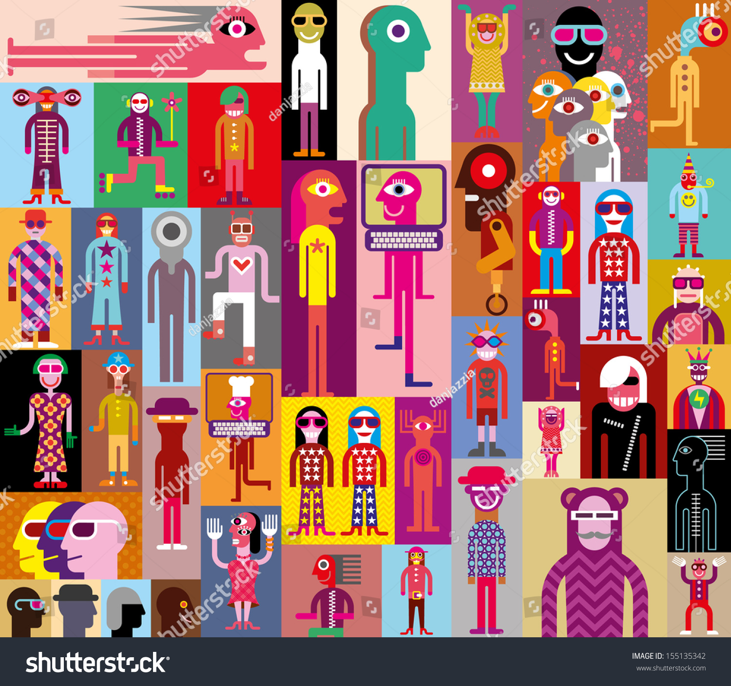 Large Group People Art Composition Abstract Stock Vector 155135342 ...