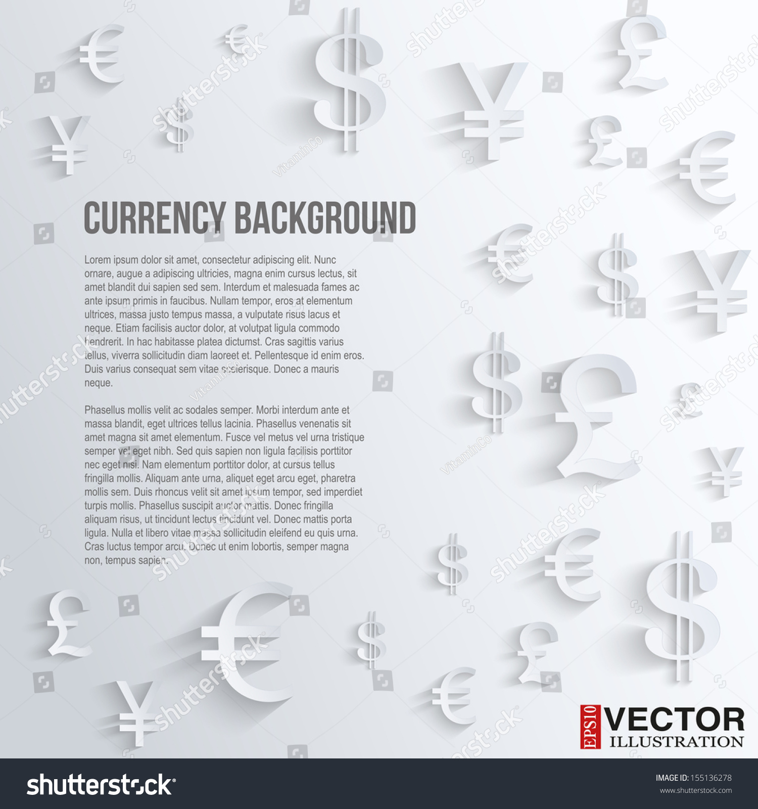 Currency symbol on background space text stock vector 155136278 currency symbol on background with space for text business vector illustration currency currency biocorpaavc