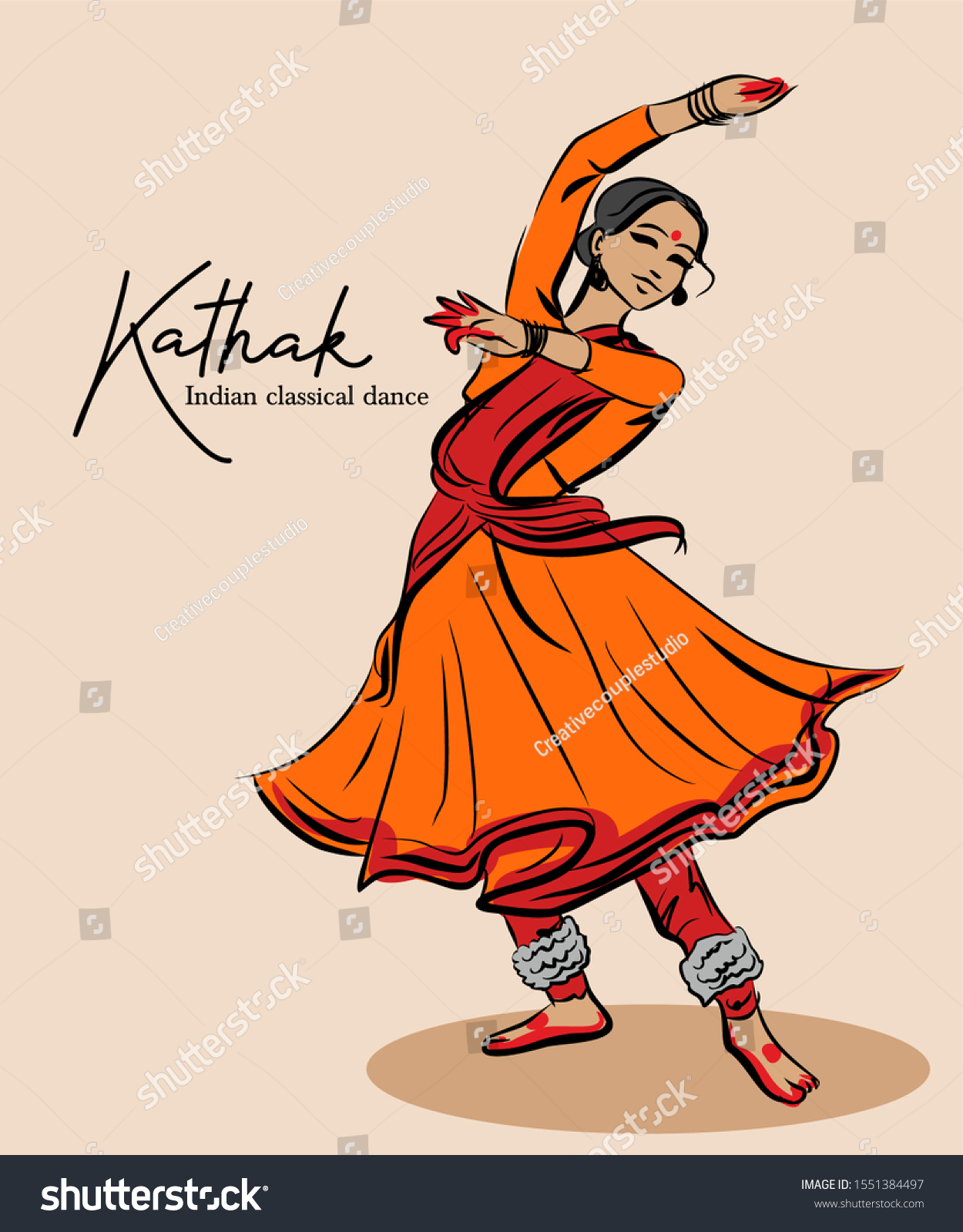 Indian Traditional Classical Kathak Dance Stock Vector Royalty Free 1551384497