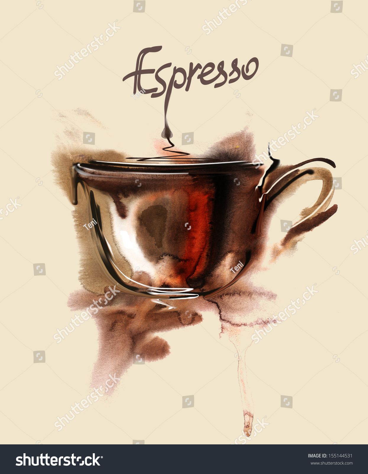 Poster with a coffee cup watercolor stock photo 155144531 for Coffee watercolor