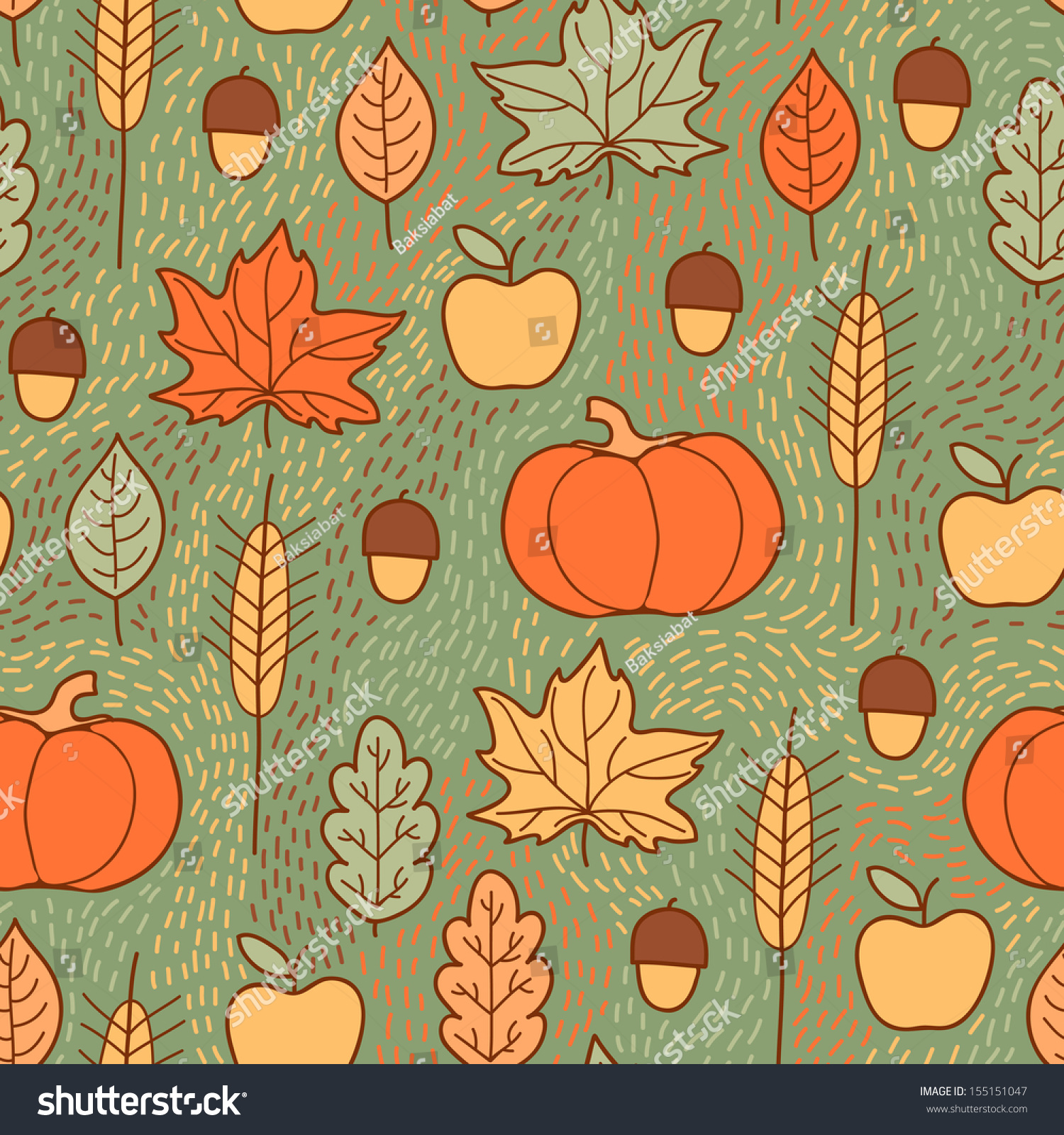 Seamless Pattern Pumpkins Leaves Wheat Apples Stock Vector ...