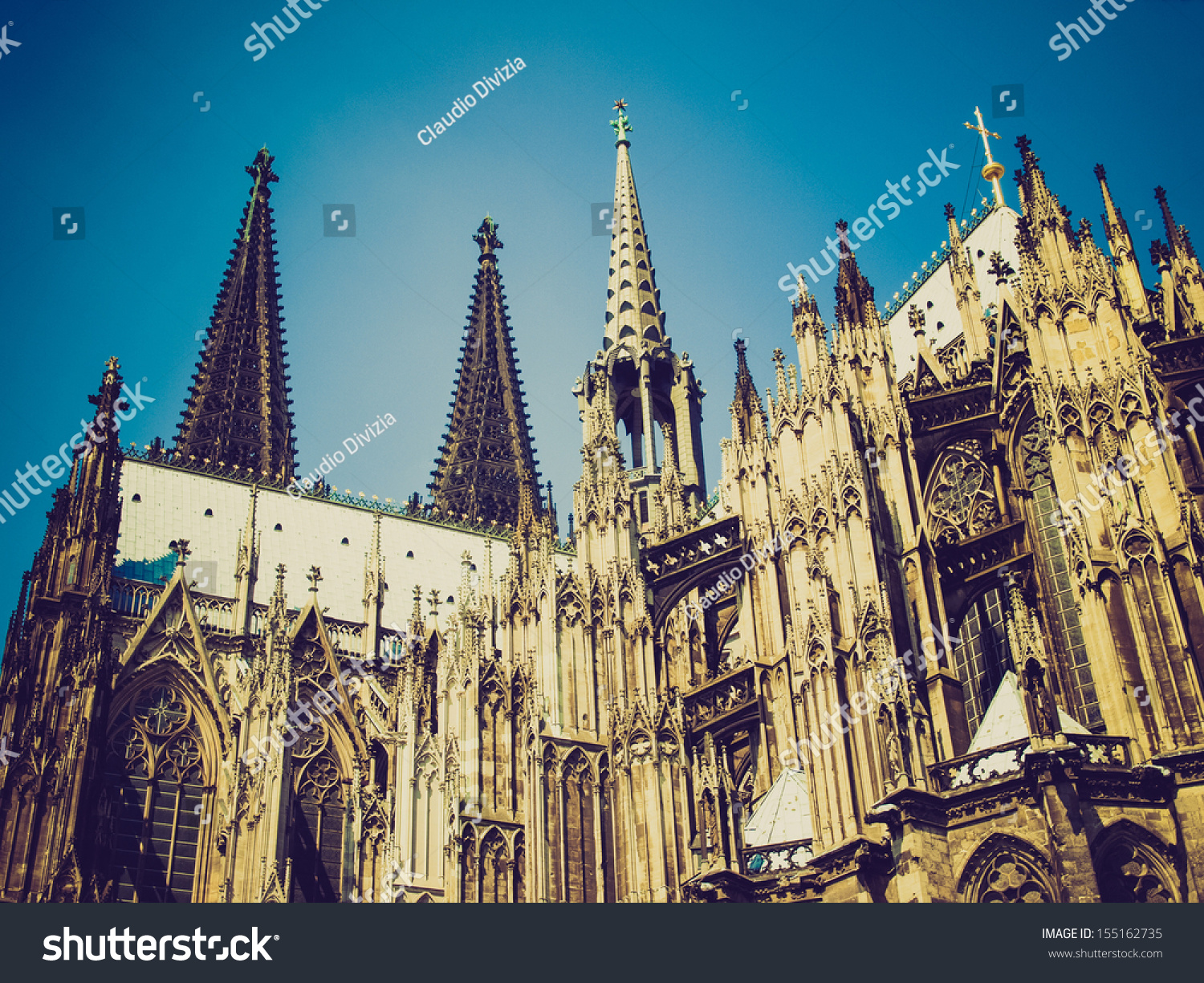 vintage looking koelner dom cologne cathedral stock photo 155162735 shutterstock. Black Bedroom Furniture Sets. Home Design Ideas