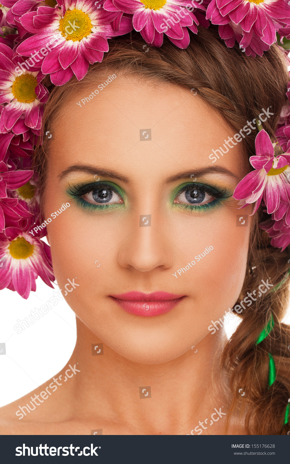 Beautiful young caucasian woman with flowers in hairover white id 155176628 izmirmasajfo