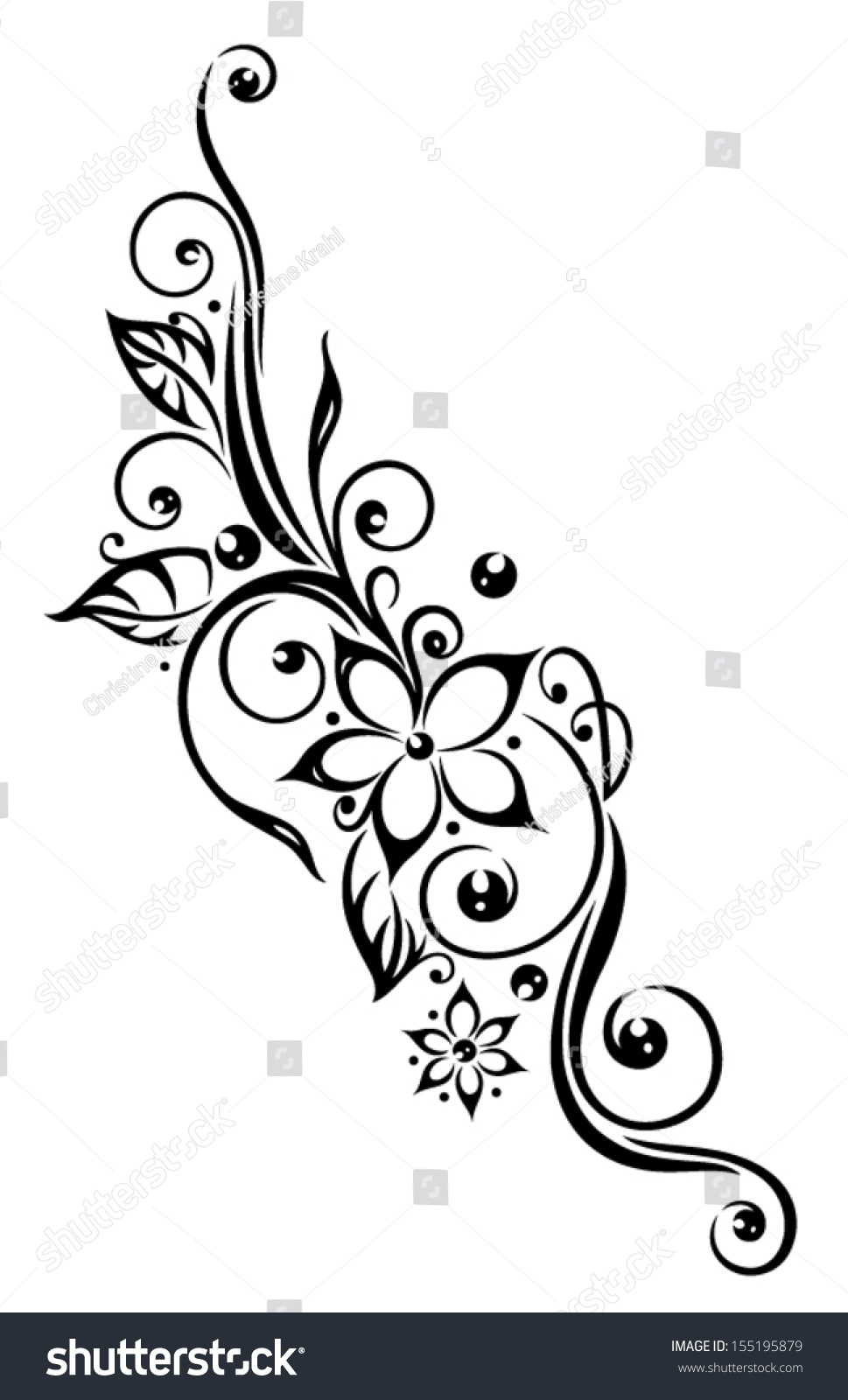 Black Flowers Illustration Tribal Tattoo Style 155195879