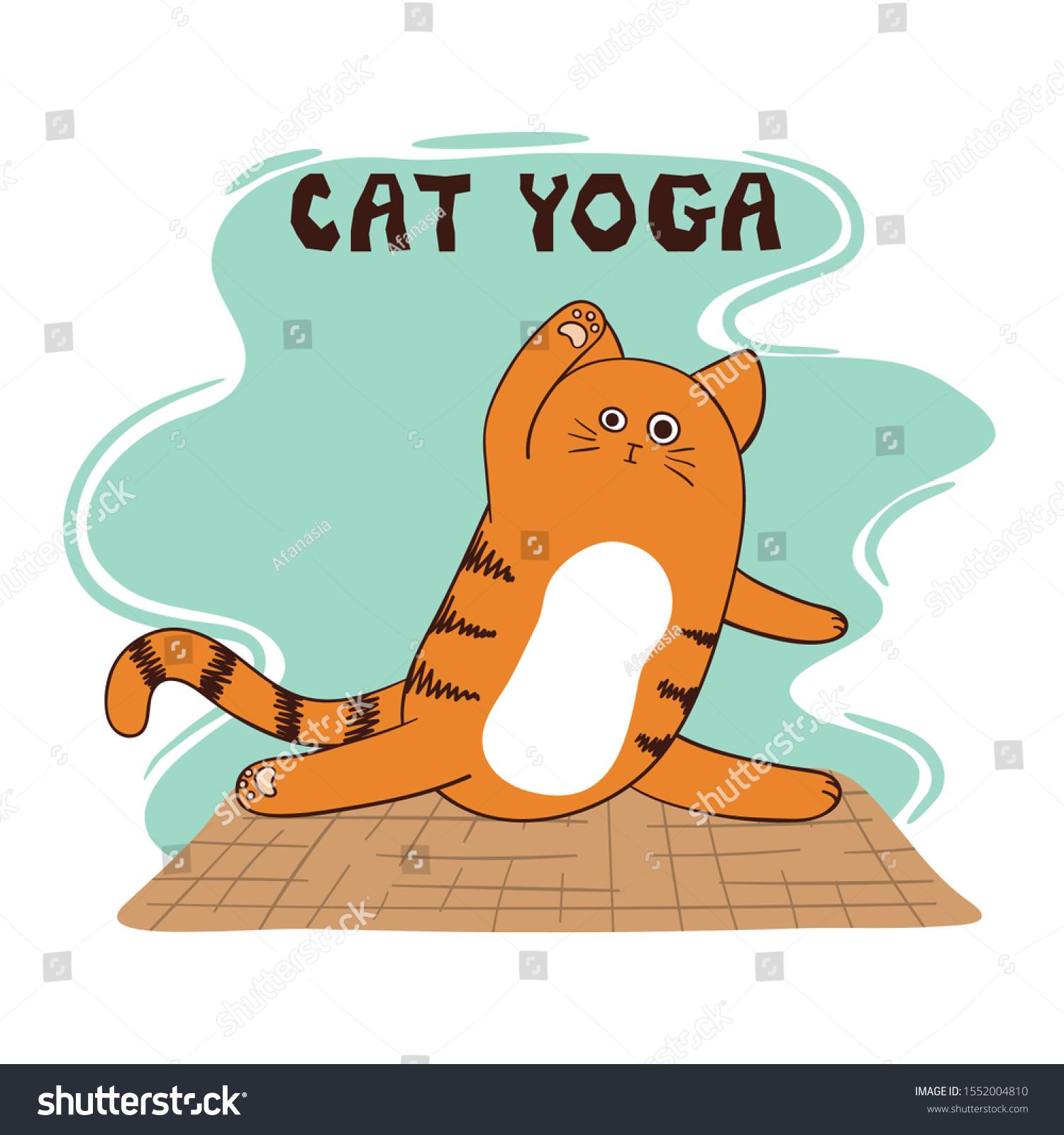 Cartoon Funny Yoga Cat Vector Illustration Stock Vector Royalty Free 1552004810