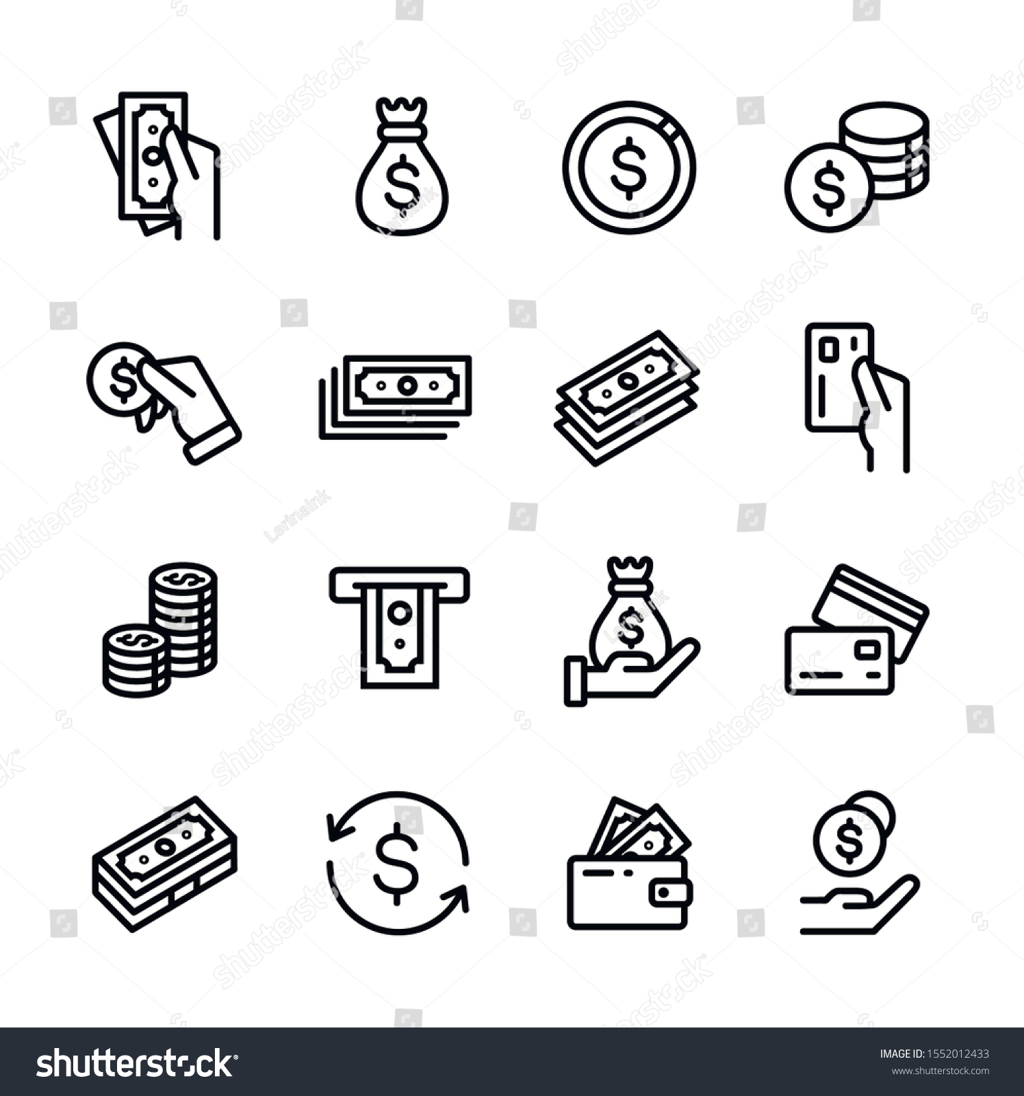 Money, finance, banking outline icons collection. Money line icons set vector illustration. Money bag, coins, credit card, wallet and more