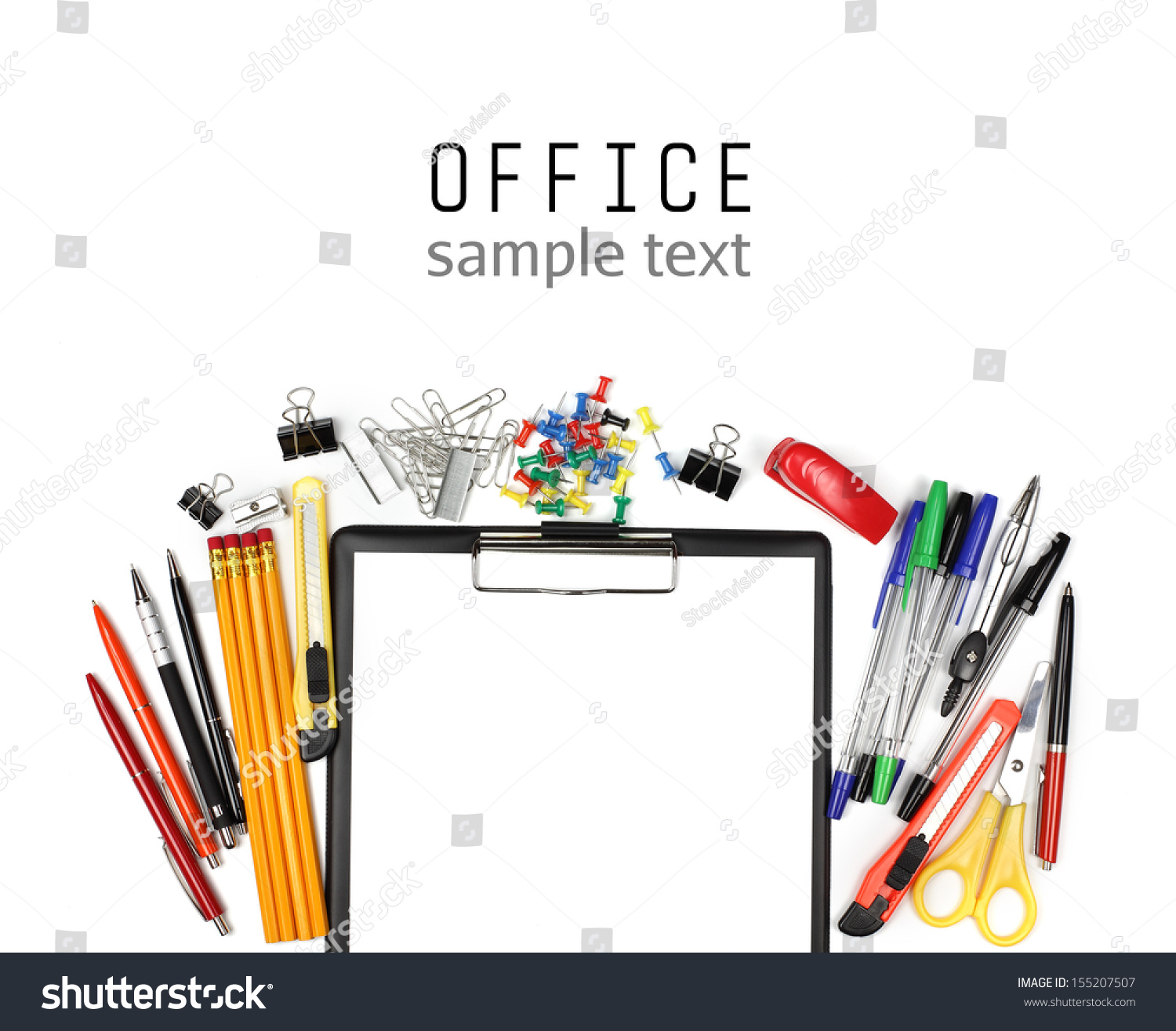 colorful office supplies and empty clipboard isolated on