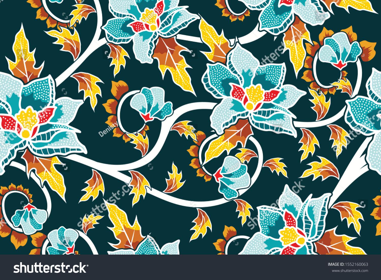 Seamless Pattern Floral Illustration Indonesian Batik Stock Vector ...