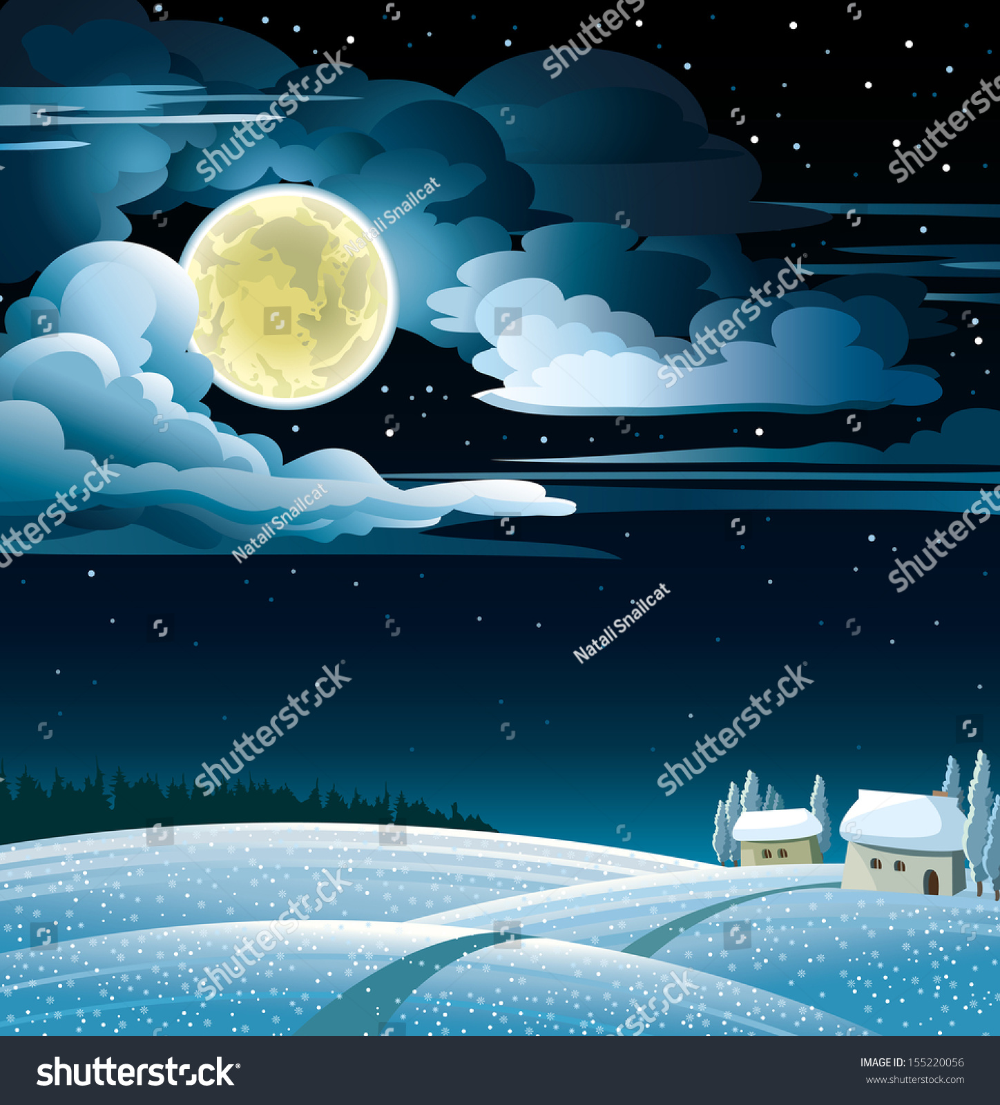 Watercolor Starry Sky Tutorial Stock Vector Winter Night Landscape With Snowy Huts
