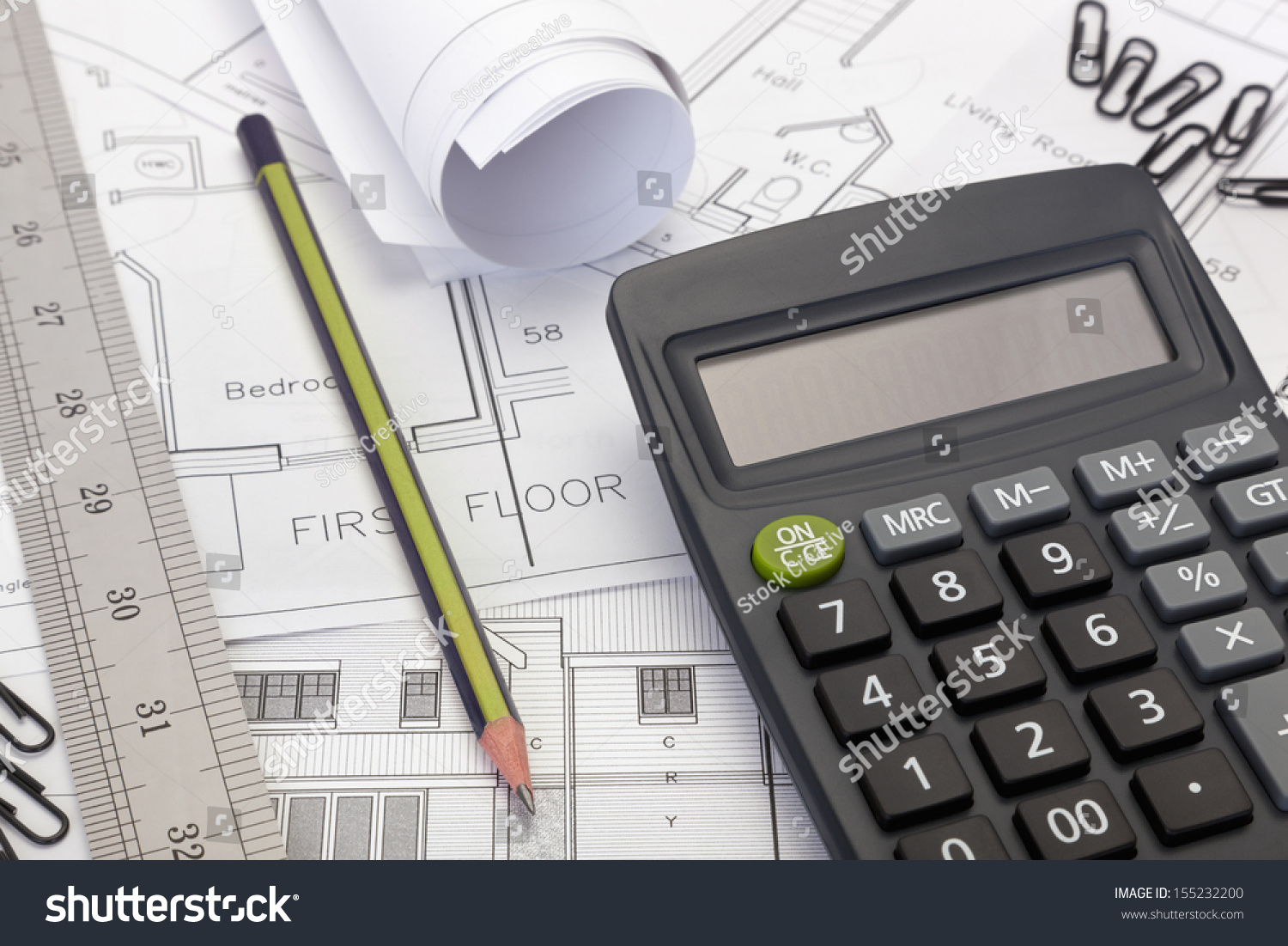 House Plans Calculator Costing Estimate Stock Photo