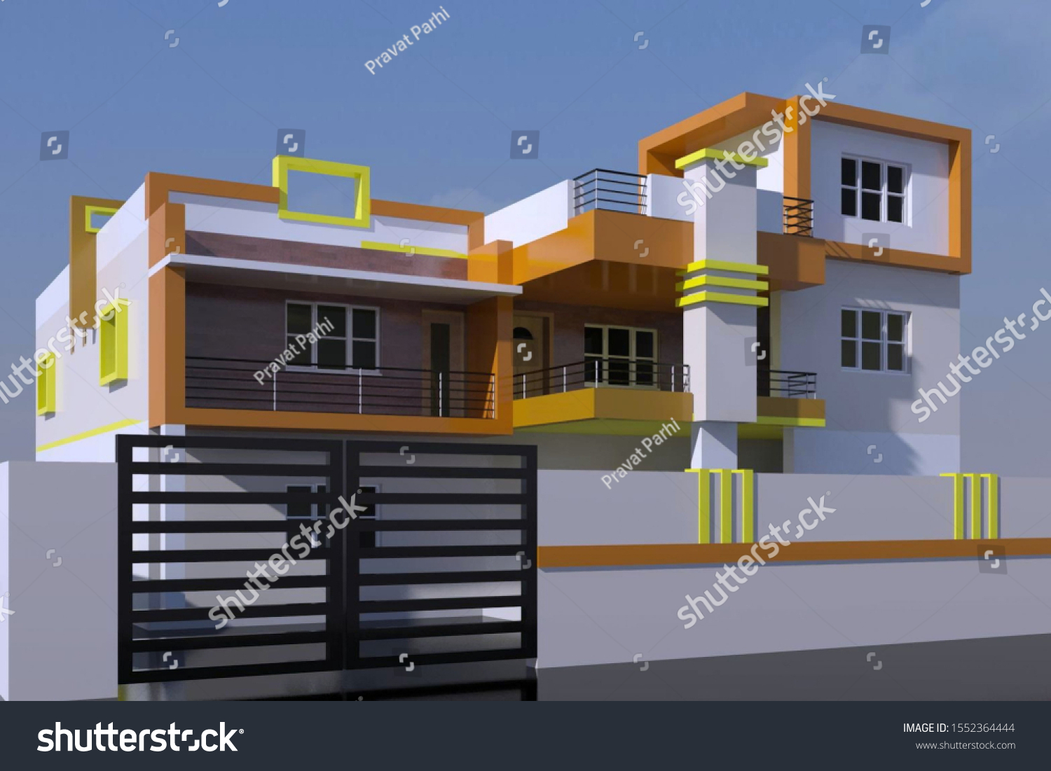 3d Design Indian Style Small Residential Stock Illustration 1552364444,Small House House Plans 2020