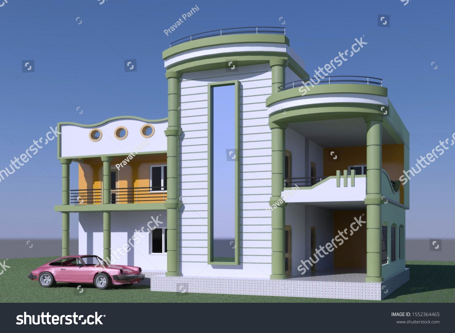 3d Design Indian Style Small Residential Stock Illustration 1552364465,Small House House Plans 2020