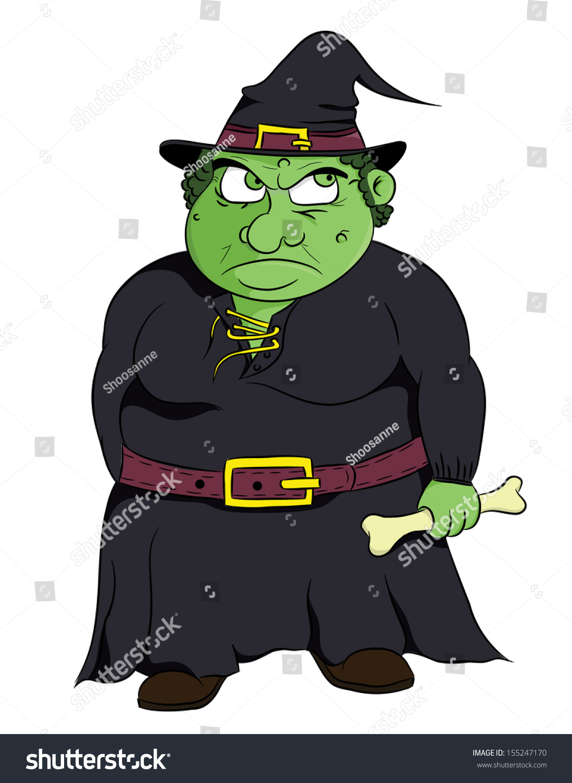 cartoon ugly fat witch vector stock vector 155247170 shutterstock