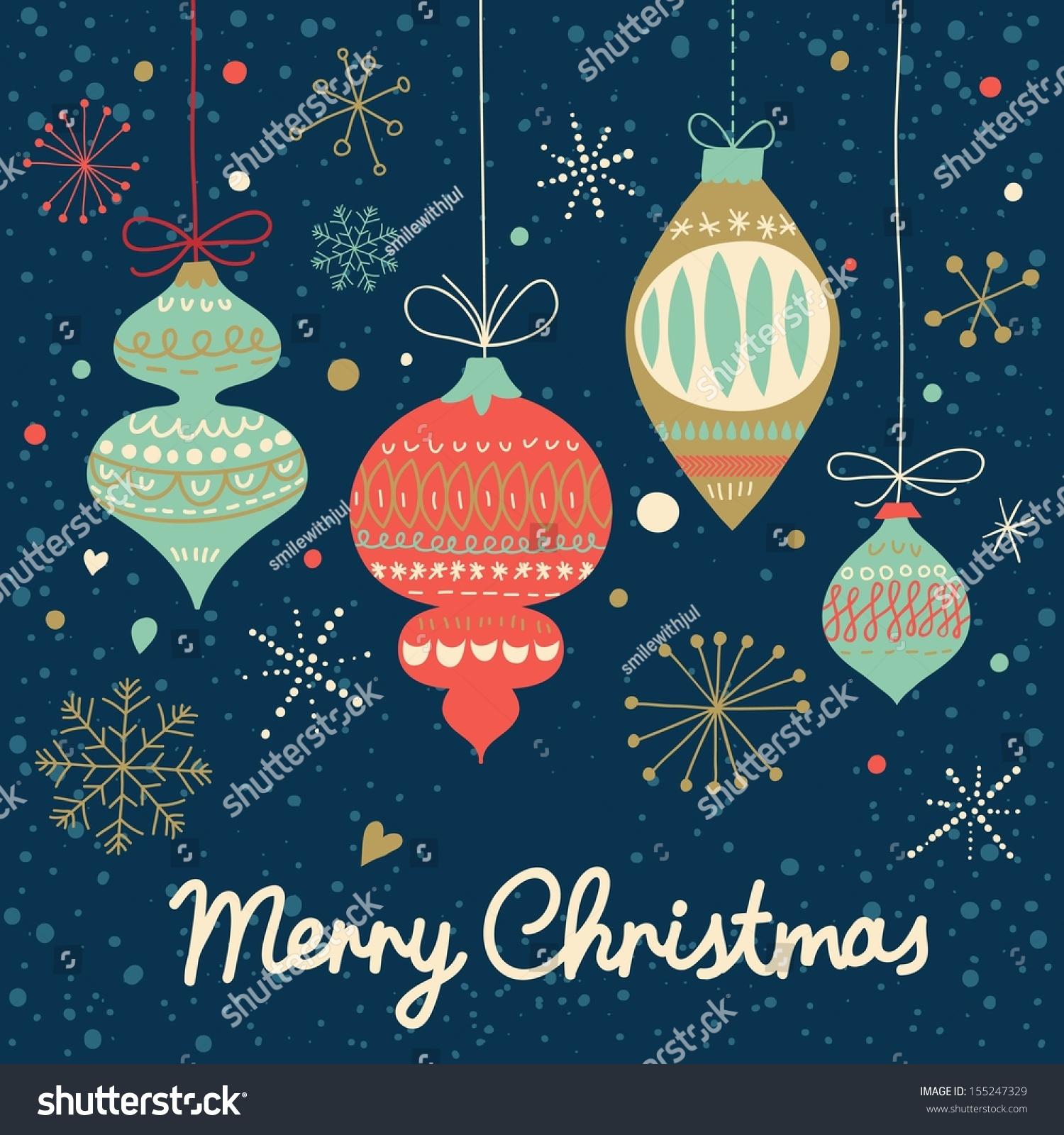 Vintage Merry Christmas Card Vector Stylish Stock Vector