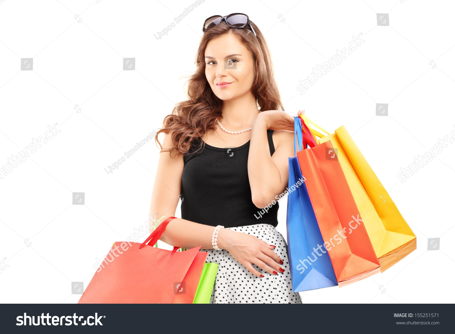 Woman posing with shopping bags isolated on white background full - Attractive Young Woman Posing With Shopping Bags Isolated On White Background