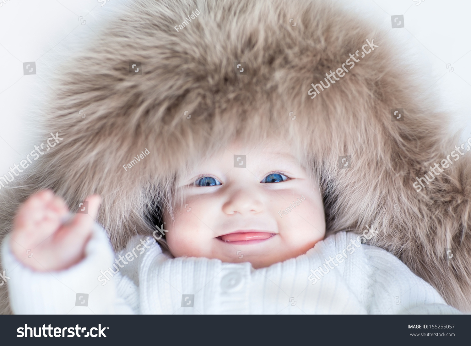 funny cute baby girl big blue stock photo (edit now) 155255057
