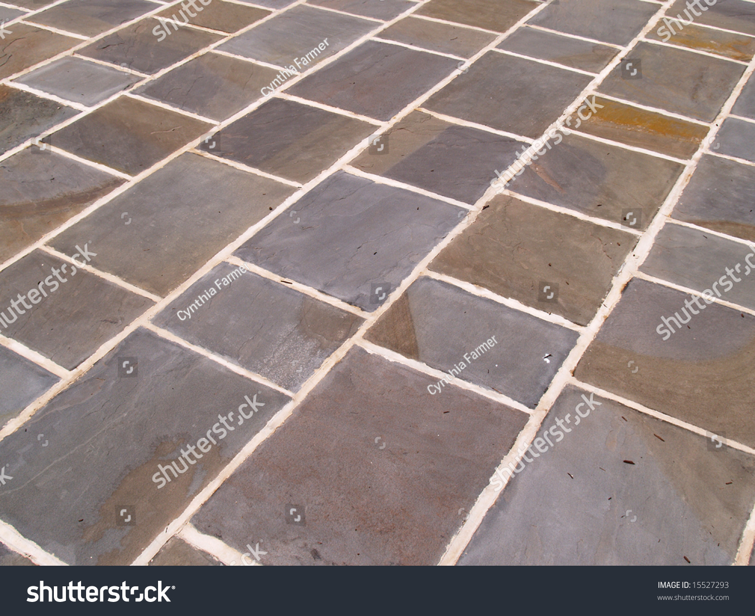 abstract view of an outdoor slate tile patio stock photo 15527293