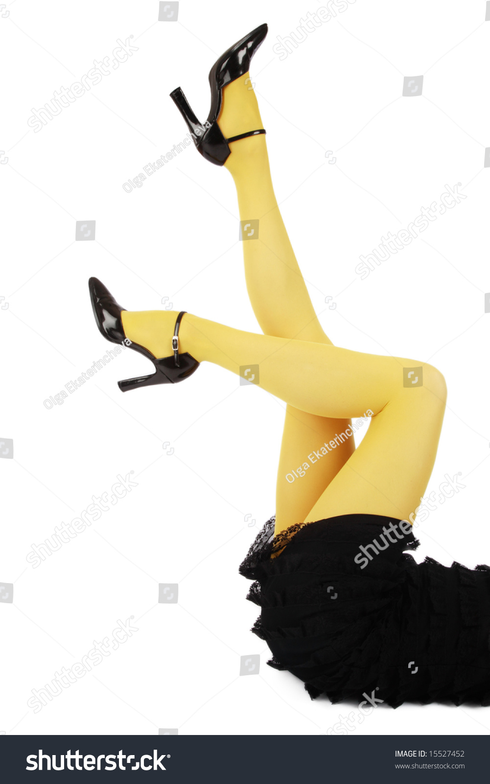 Long Slim Beautiful Woman Legs In Yellow Pantyhose And ...