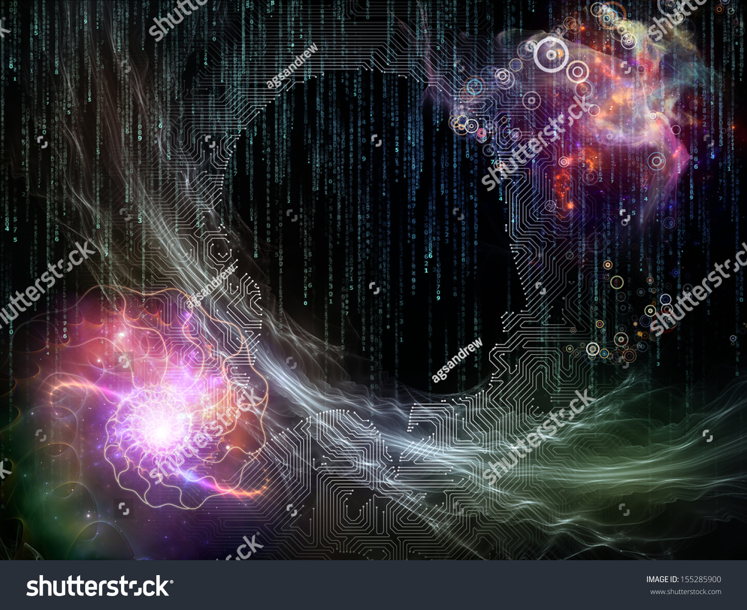 Abstract Design Made Circuit Board Texture Stock Illustration Designing A And Getting It Of Human Profile Technological Elements On The Subject