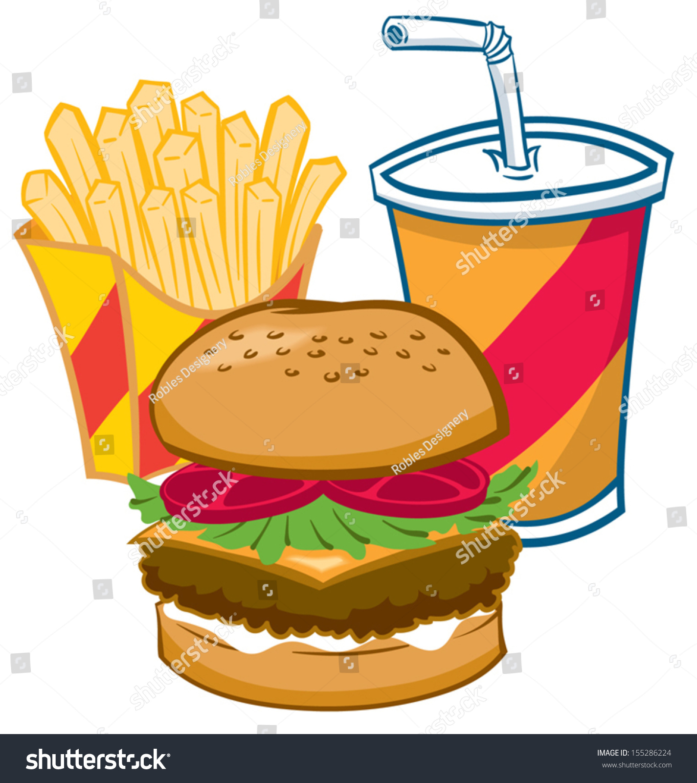 Fast Food Burger Fries And A Soft Drink Stock Vector Illustration ...