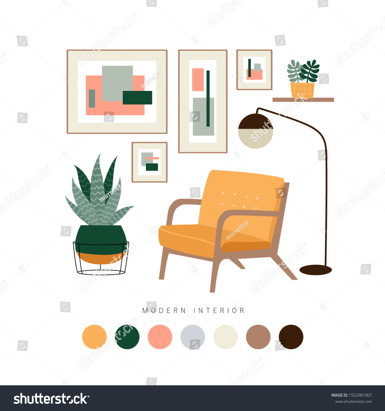 Set Furniture Interior Home Accessories Mid Stock Vector Royalty Free 1552981007