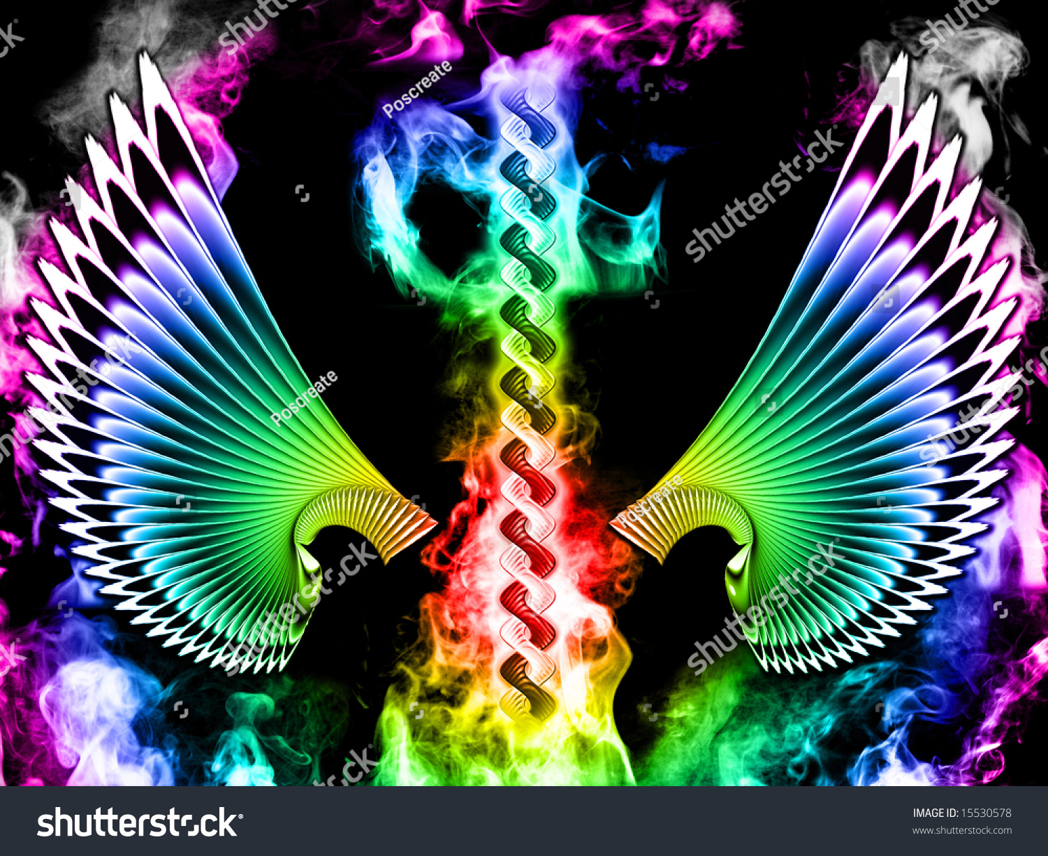 abstract rainbow tech wings with colorful smoke on black
