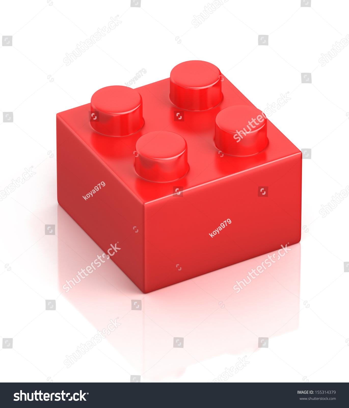 Single red building block isolated on stock illustration