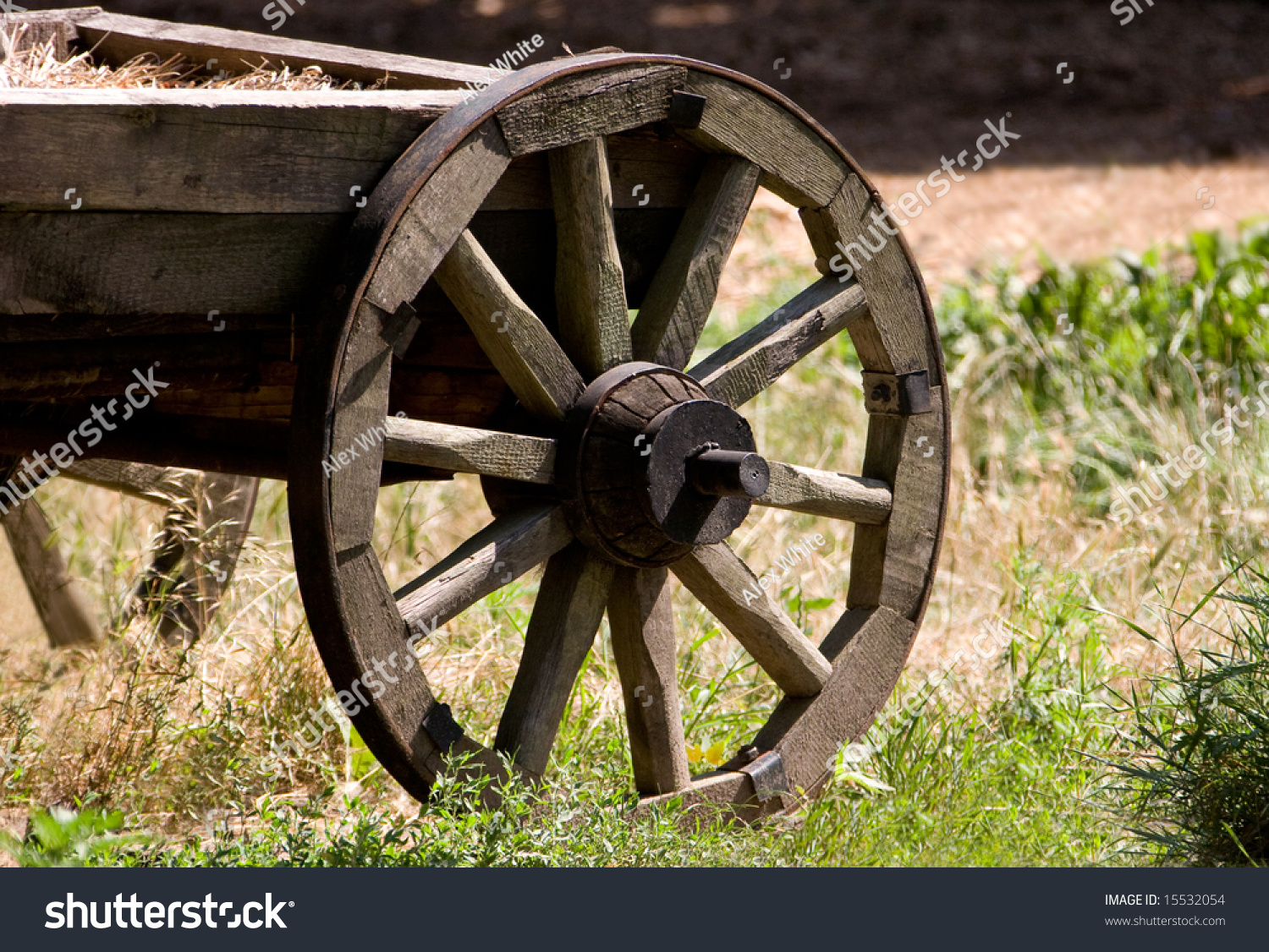 Part Ancient Cart Wooden Wheels Stock Photo 15532054