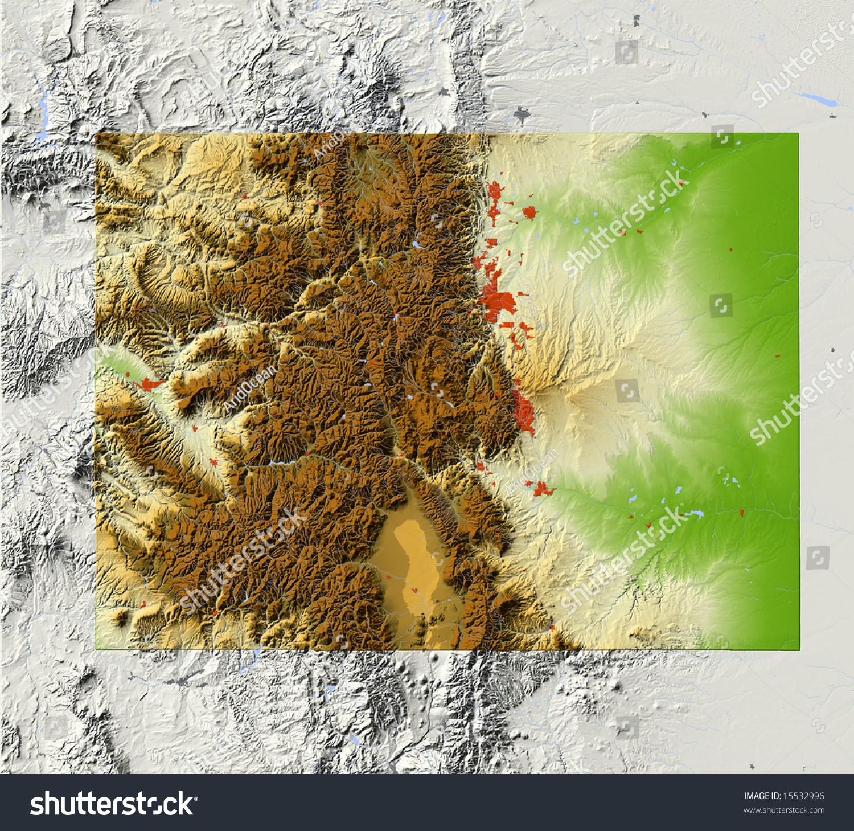 Colorado Elevation: Colorado. Shaded Relief Map, With Major Urban Areas And