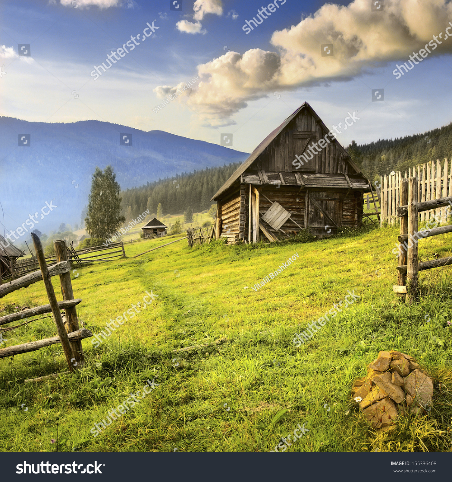 Summer landscape with a lonely house mountain village in the ukrainian carpathians stock photo - Summer houses mountains ...