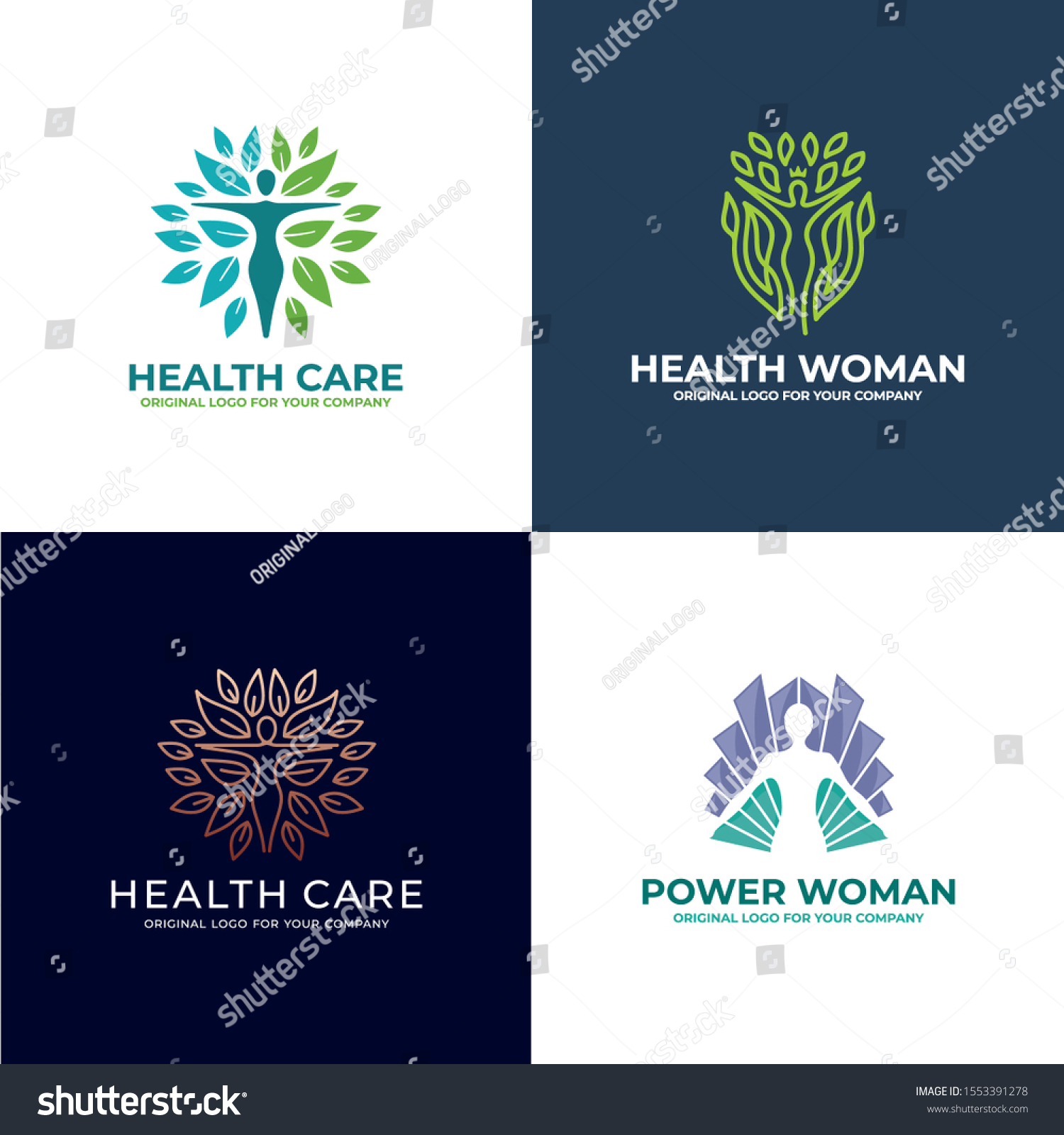 Health Woman Beauty Logo Design Creative Stock Vector Royalty Free 1553391278
