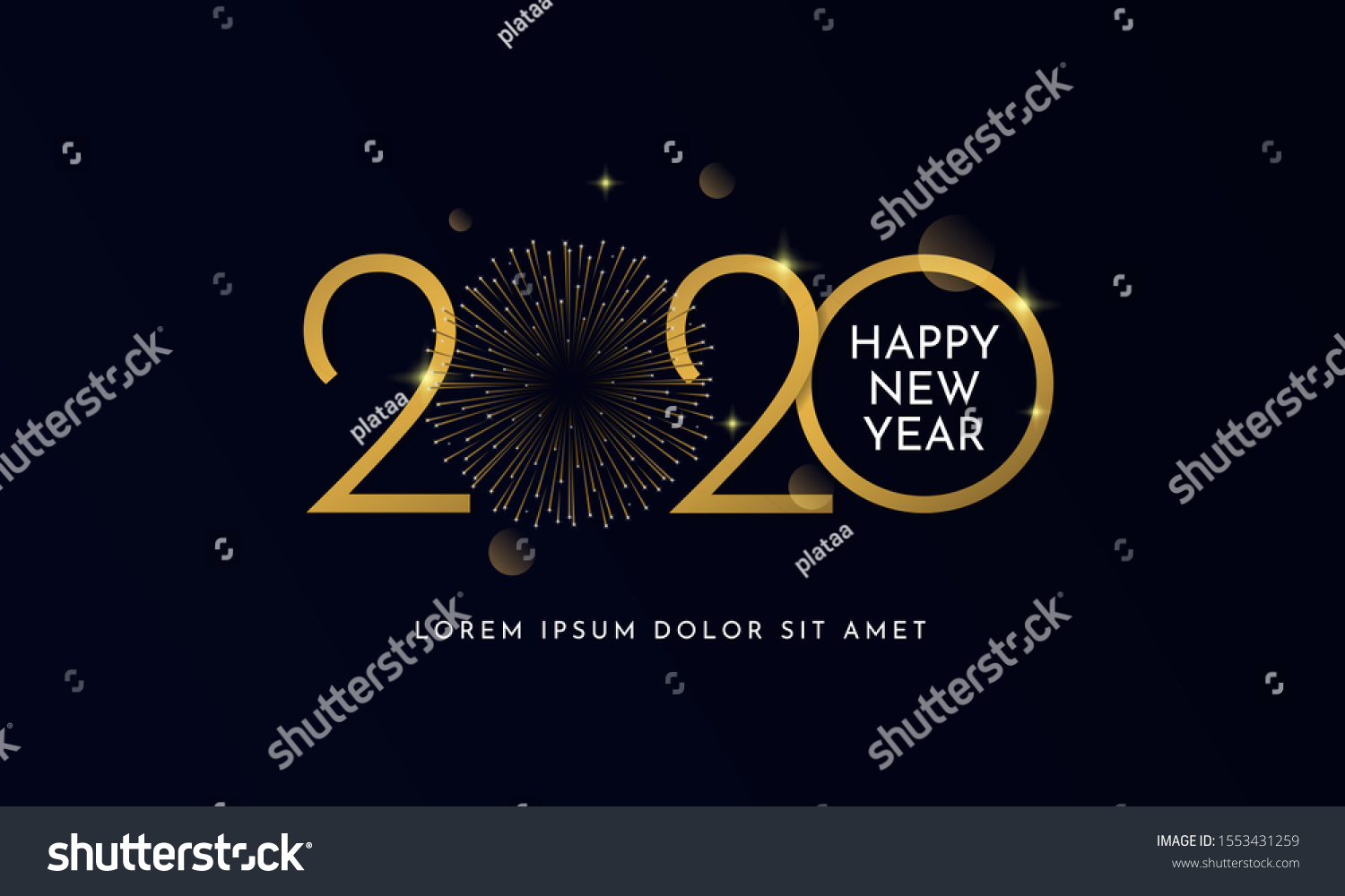 Happy new year 2020 typography text celebration poster design. glowing golden number with gold fireworks explosion element and dark sky background vector illustration. #1553431259